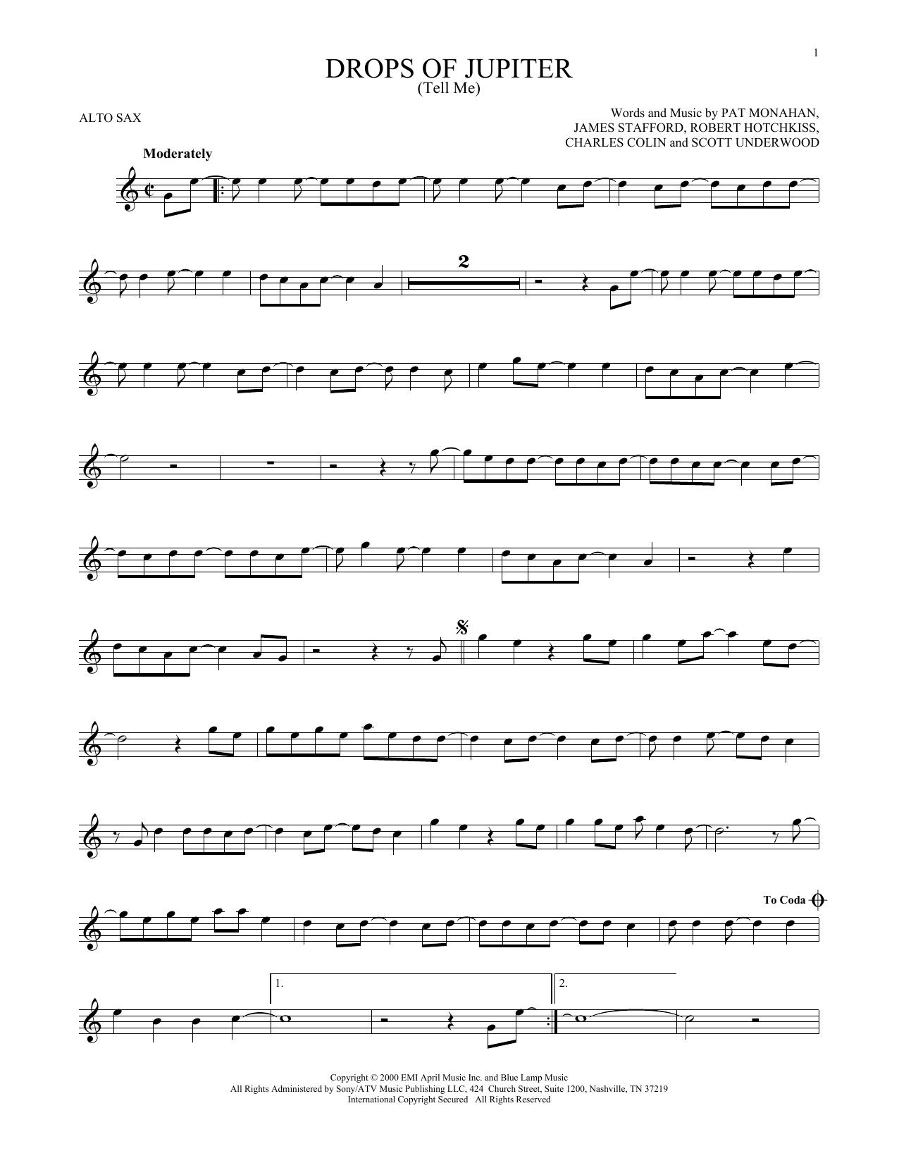 Partition saxophone Drops Of Jupiter (Tell Me) de Train - Sax Alto