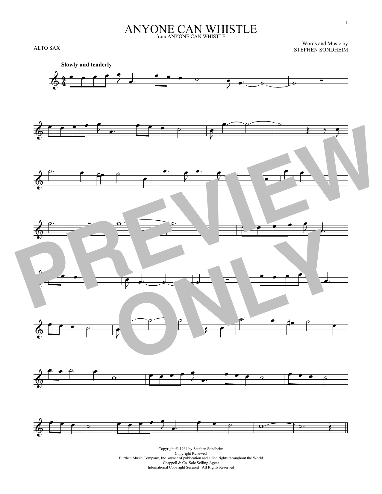 Partition saxophone Anyone Can Whistle de Stephen Sondheim - Sax Alto