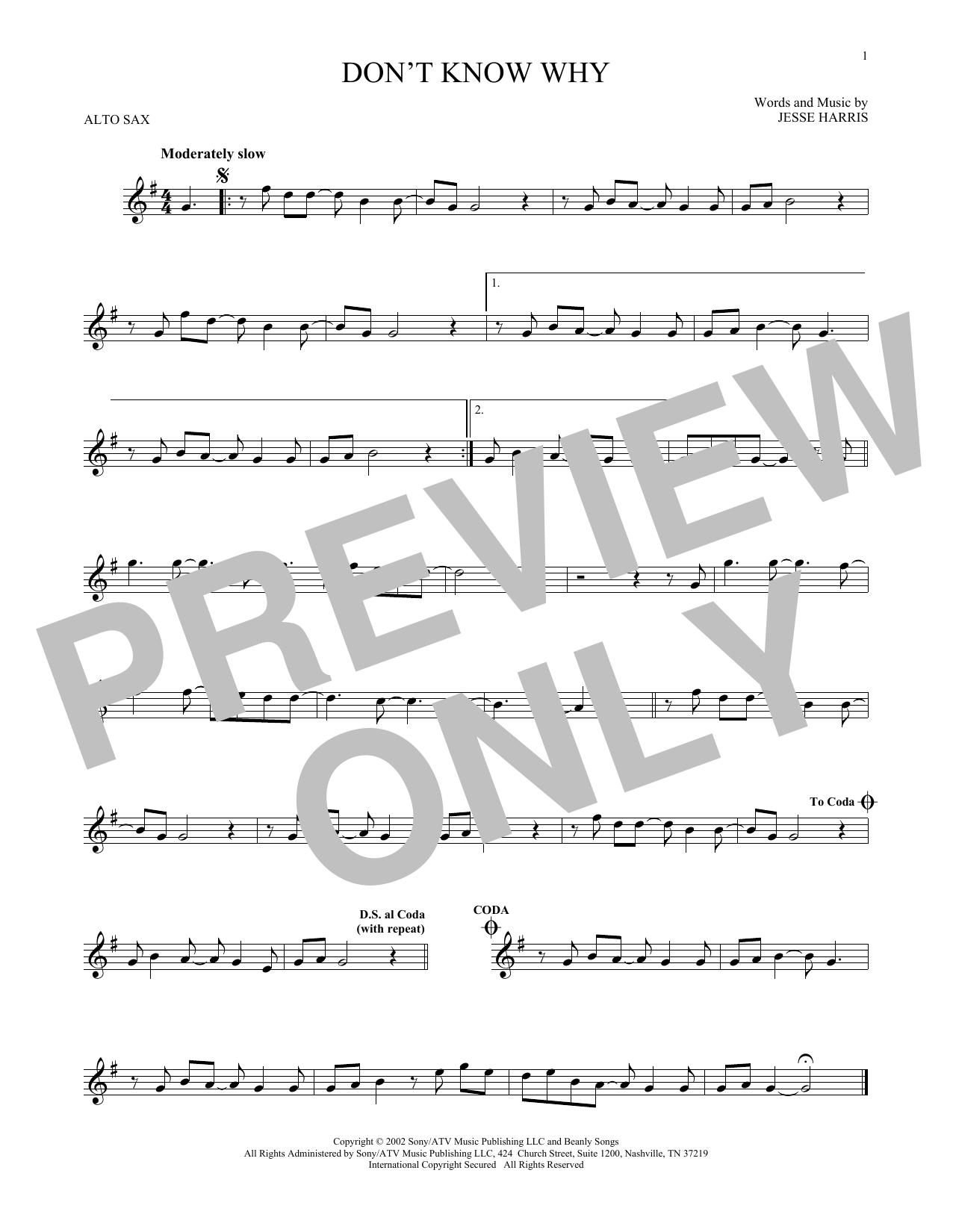 Partition saxophone Don't Know Why de Norah Jones - Sax Alto