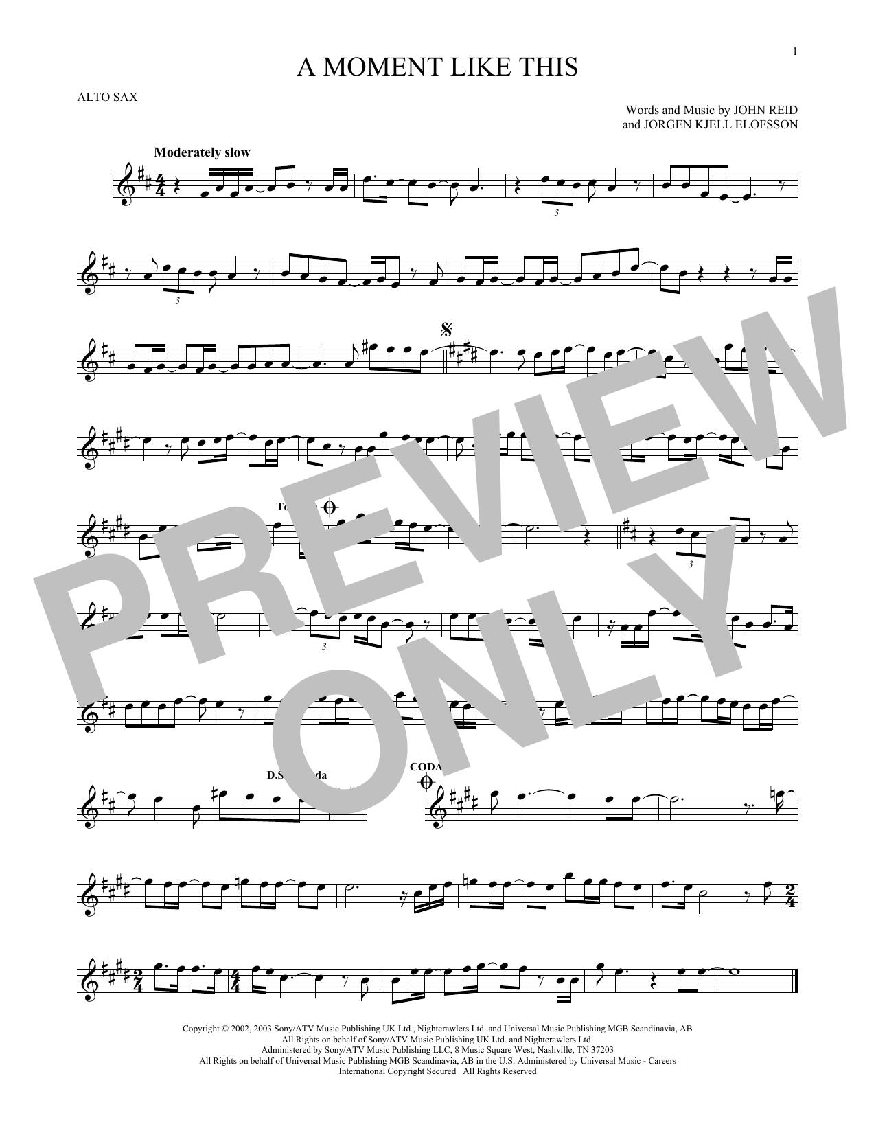 Partition saxophone A Moment Like This de Kelly Clarkson - Sax Alto