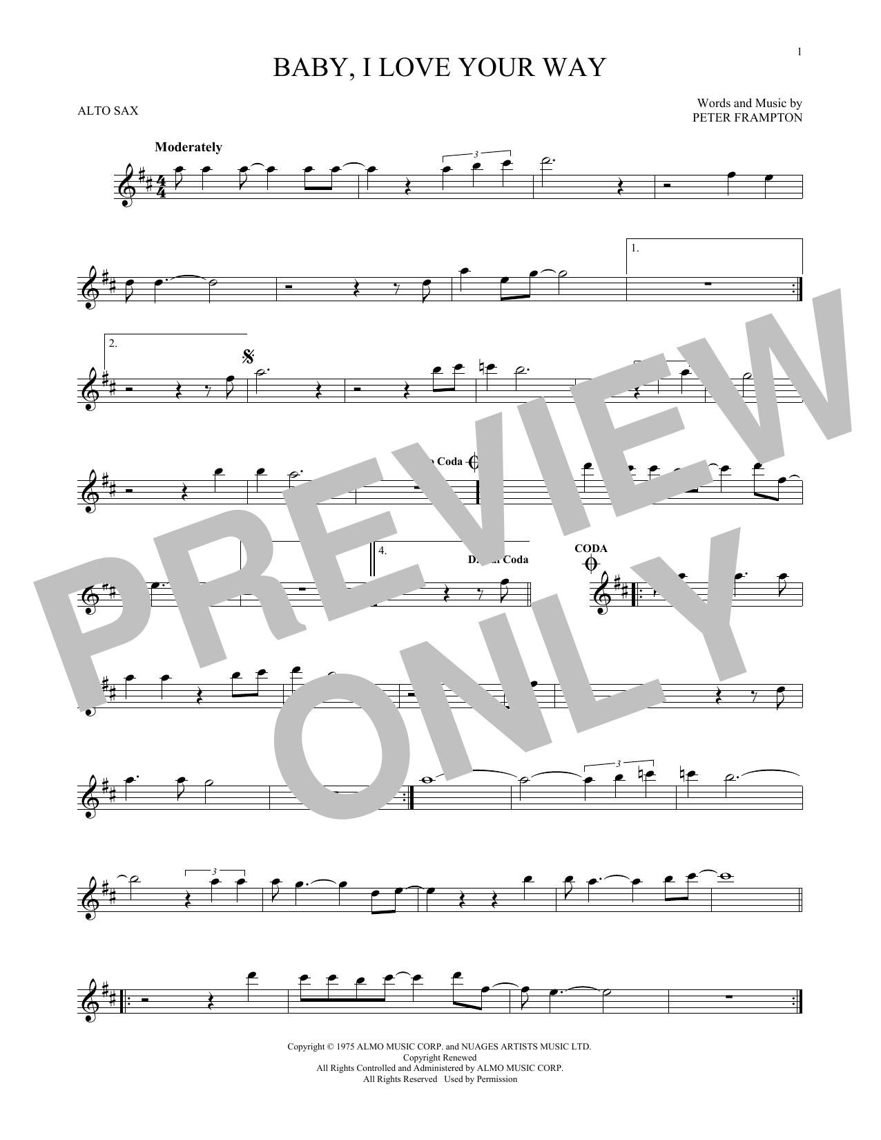 Partition saxophone Baby, I Love Your Way de Peter Frampton - Sax Alto