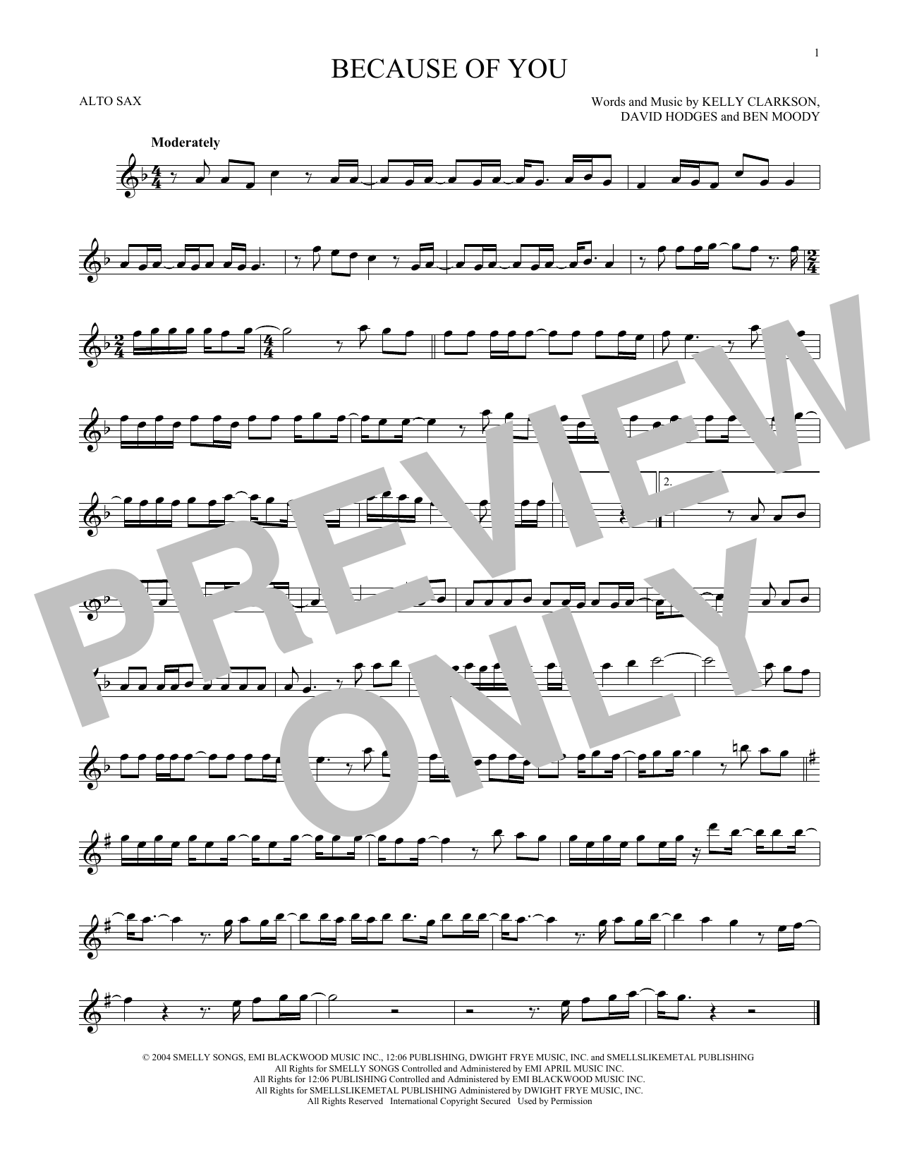 Partition saxophone Because Of You de Kelly Clarkson - Sax Alto