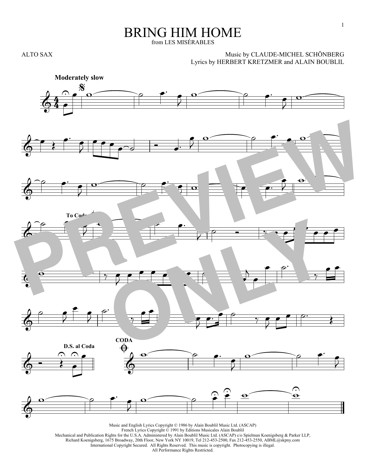 Partition saxophone Bring Him Home de Claude-Michel Schonberg - Sax Alto