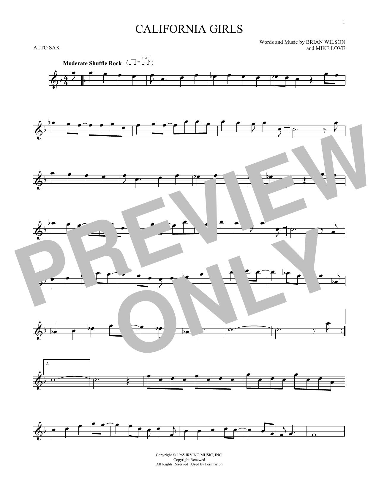 Partition saxophone California Girls de The Beach Boys - Sax Alto