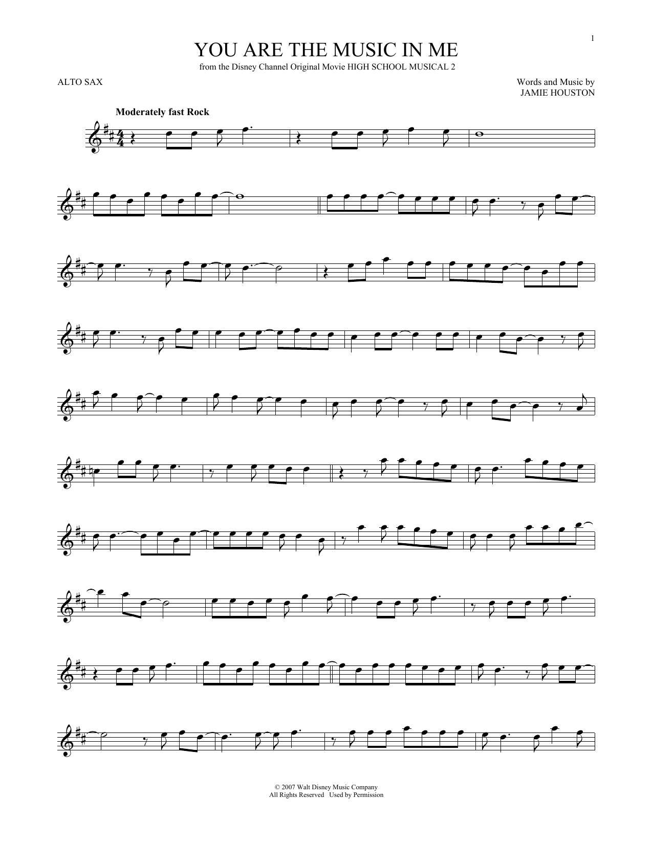 Partition saxophone You Are The Music In Me de Zac Efron and Vanessa Hudgens - Sax Alto