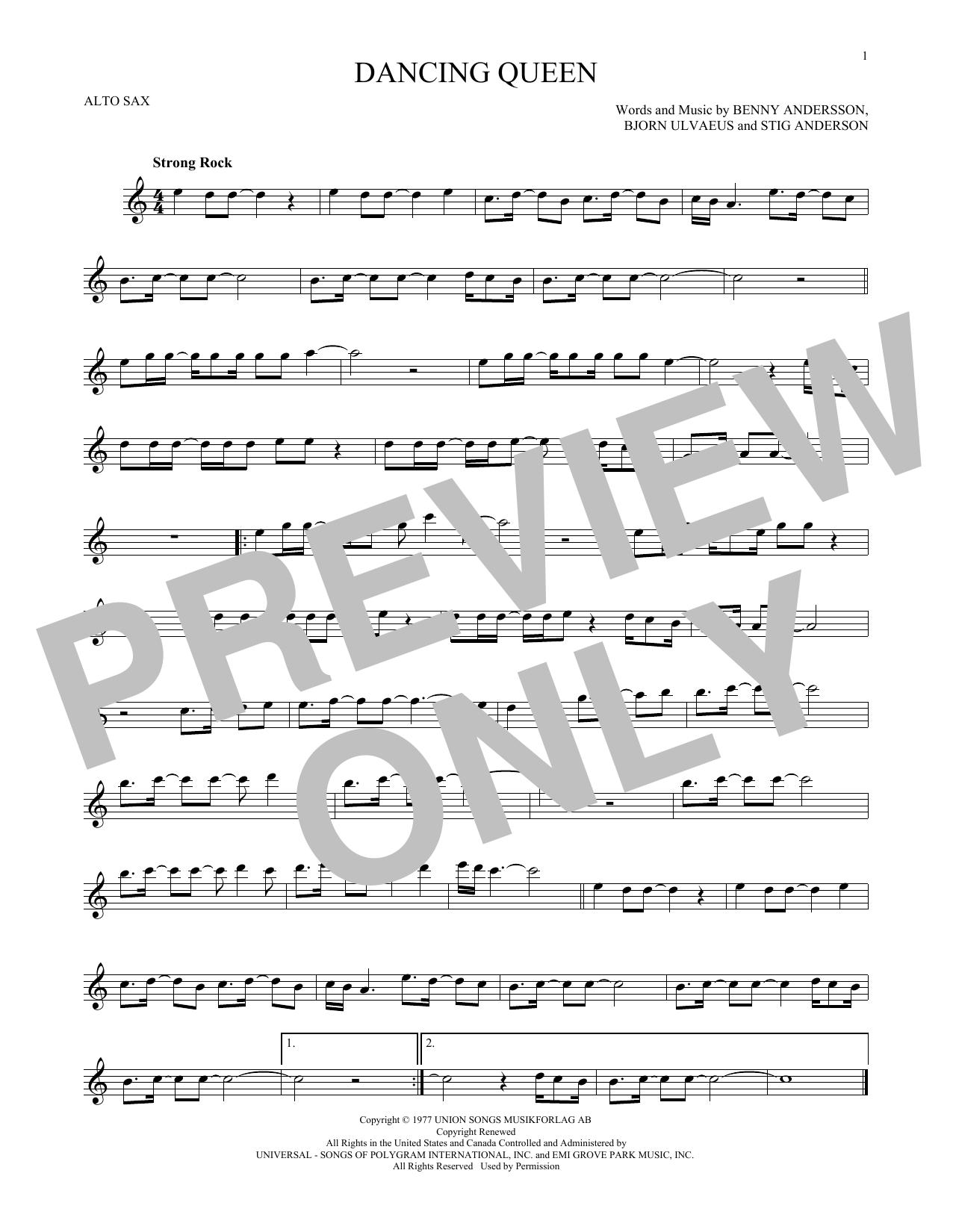 Partition saxophone Dancing Queen de Abba - Sax Alto