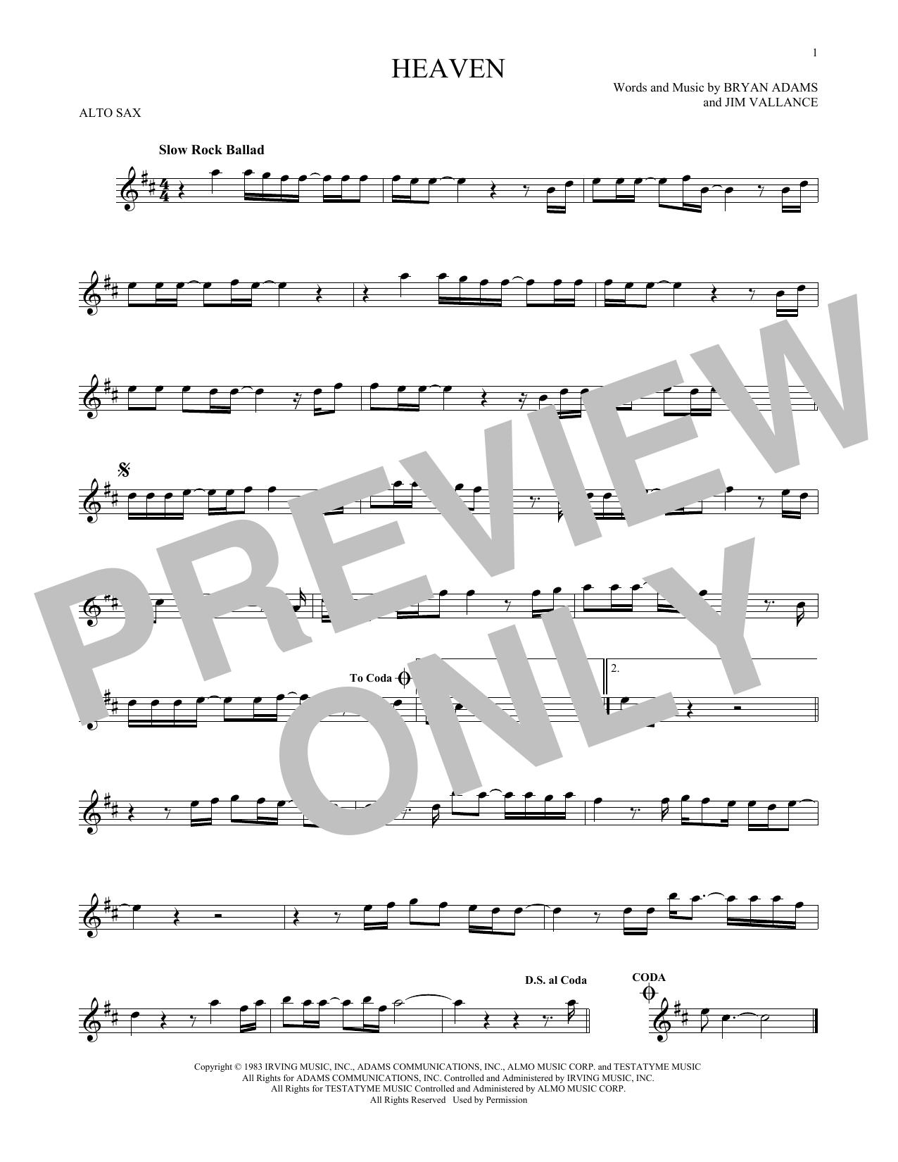 Partition saxophone Heaven de Bryan Adams - Sax Alto
