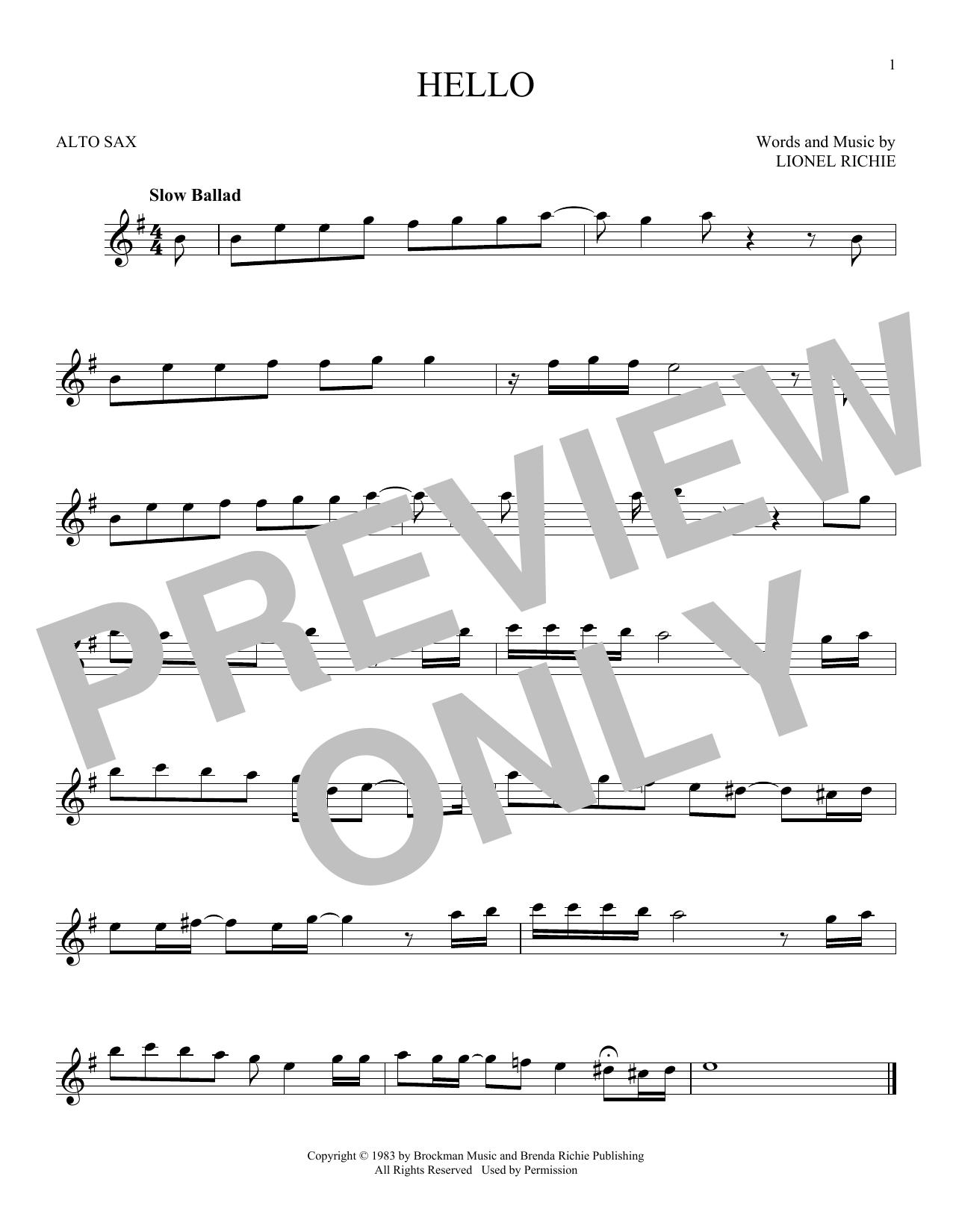 Partition saxophone Hello de Lionel Richie - Sax Alto