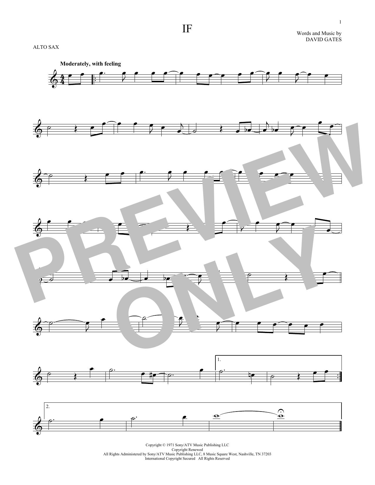 Partition saxophone If de Bread - Sax Alto