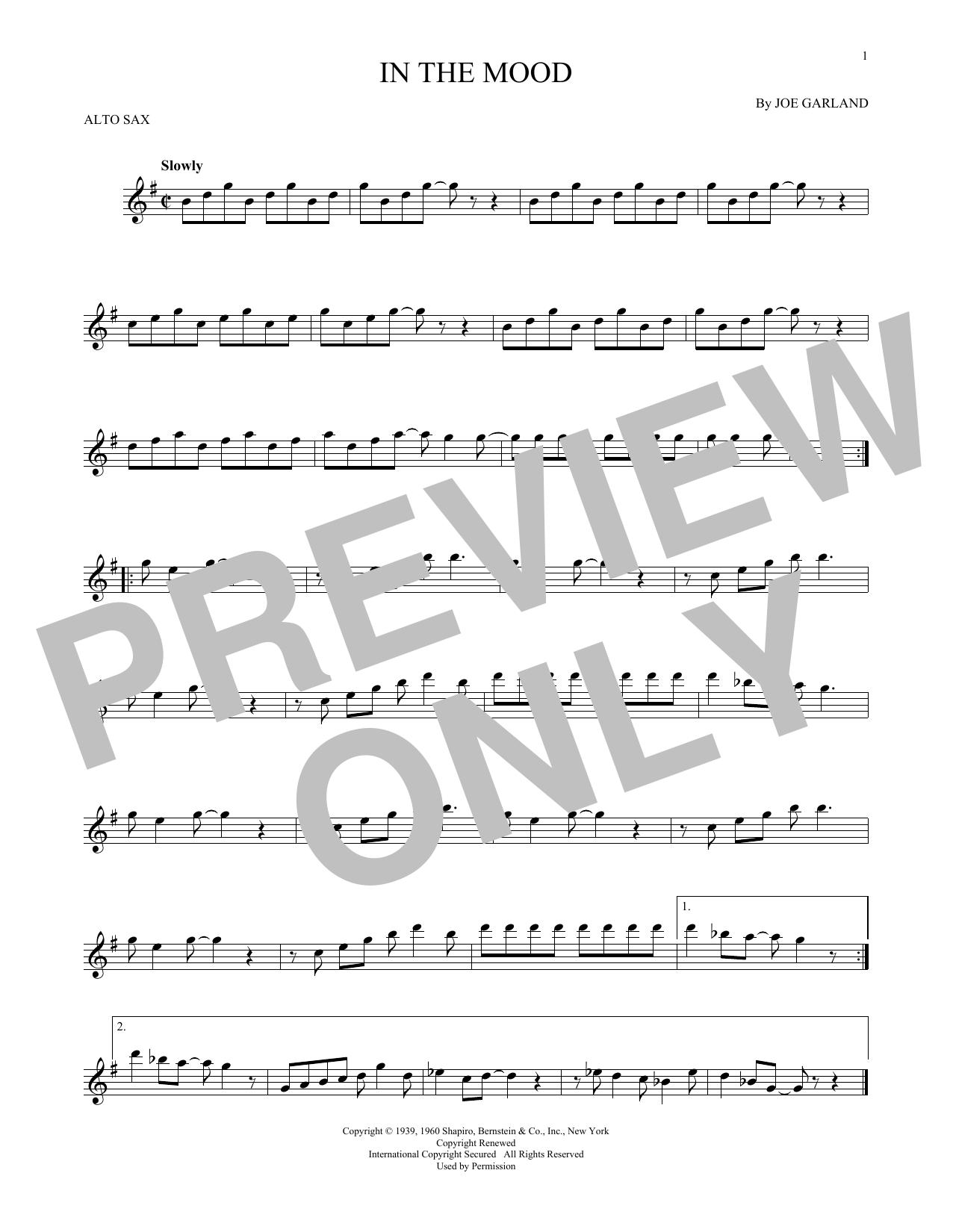 Partition saxophone In The Mood de Joe Garland - Sax Alto