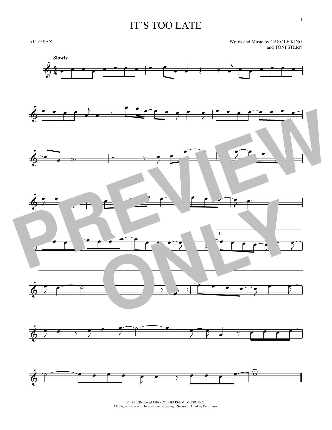 Partition saxophone It's Too Late de Carole King - Sax Alto