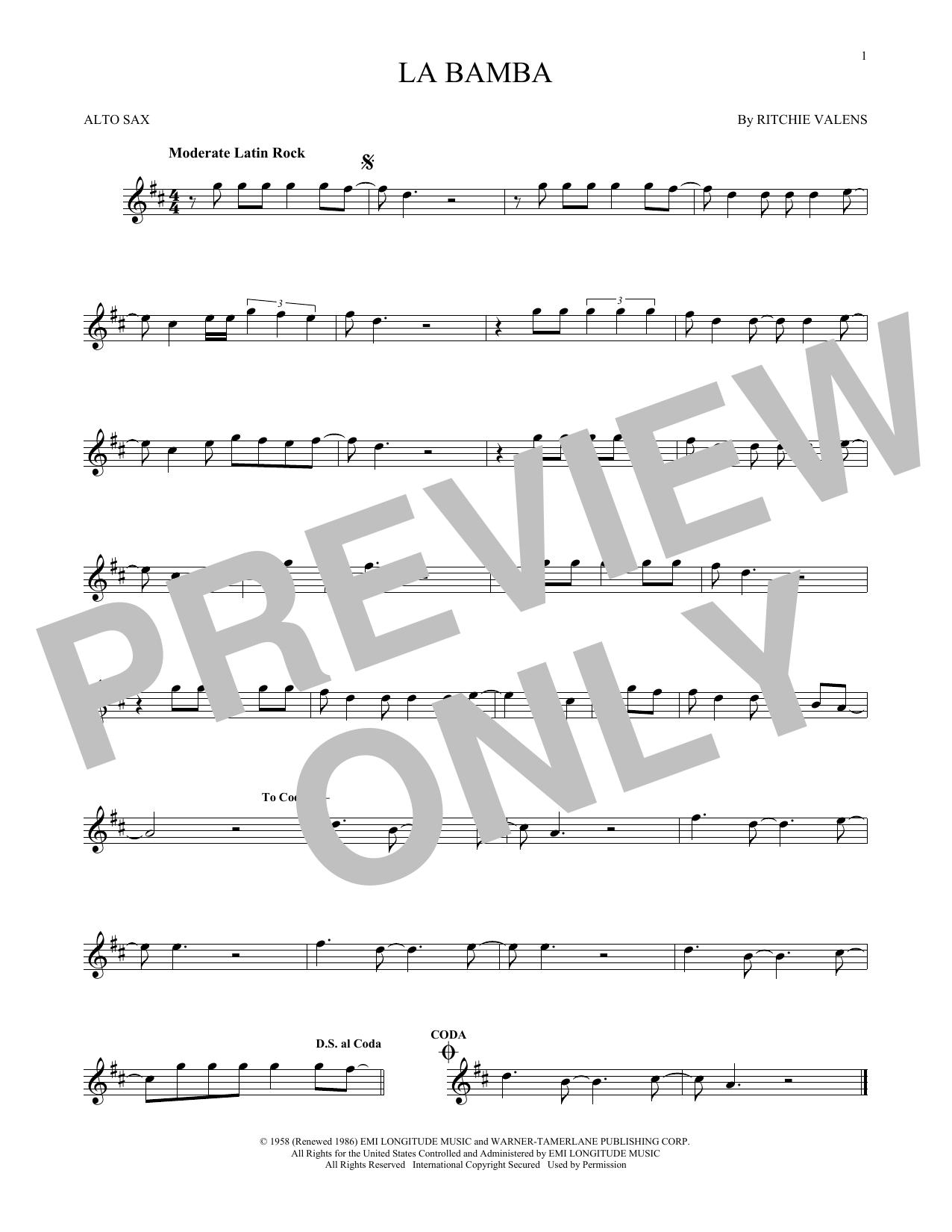 Partition saxophone La Bamba de Ritchie Valens - Sax Alto