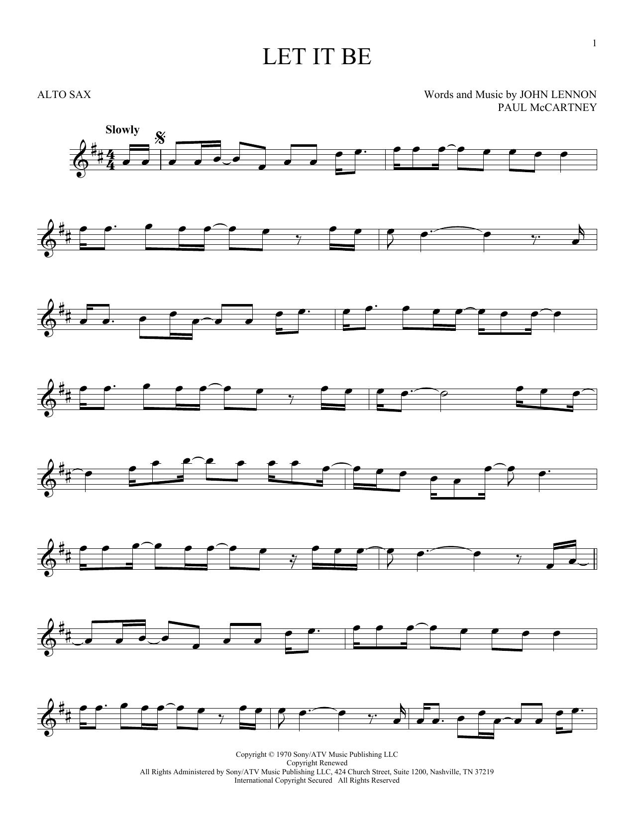 Partition saxophone Let It Be de The Beatles - Sax Alto