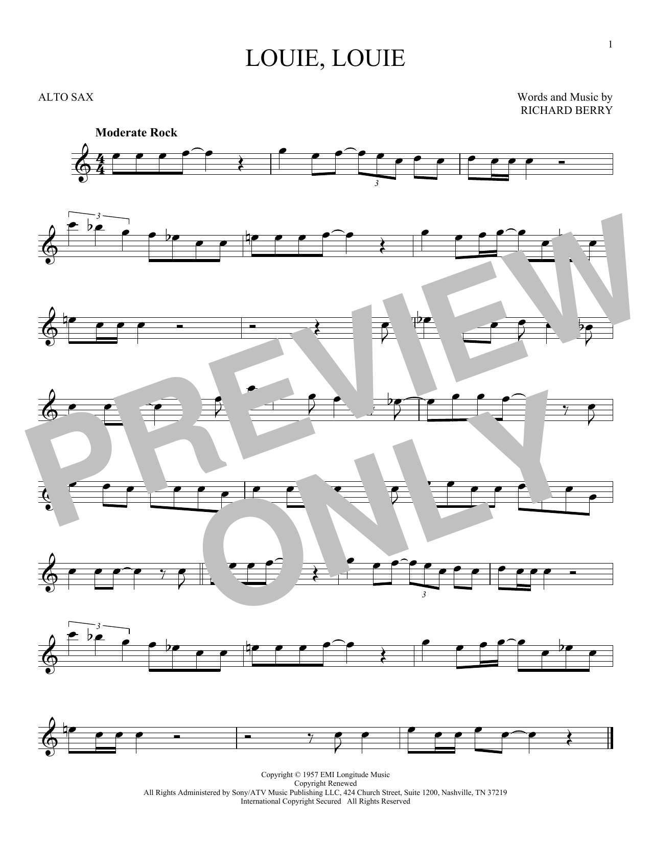 Partition saxophone Louie, Louie de Kingsmen - Sax Alto