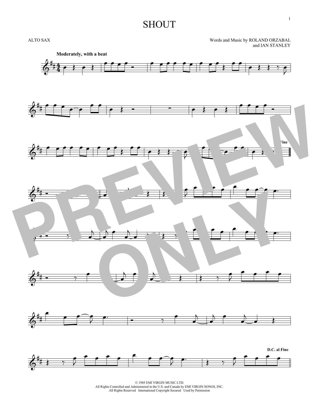 Partition saxophone Shout de Tears for Fears - Sax Alto
