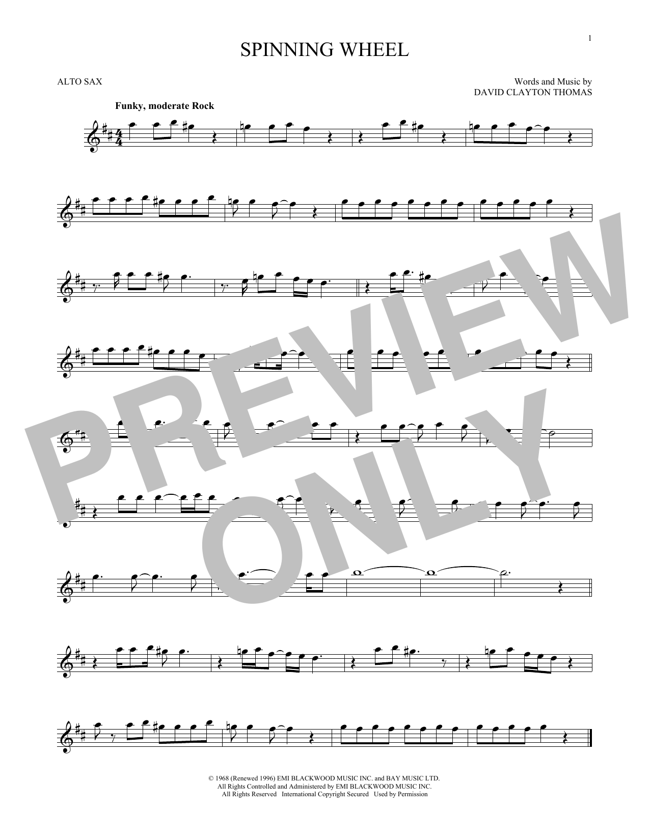 Partition saxophone Spinning Wheel de Blood, Sweat & Tears - Sax Alto