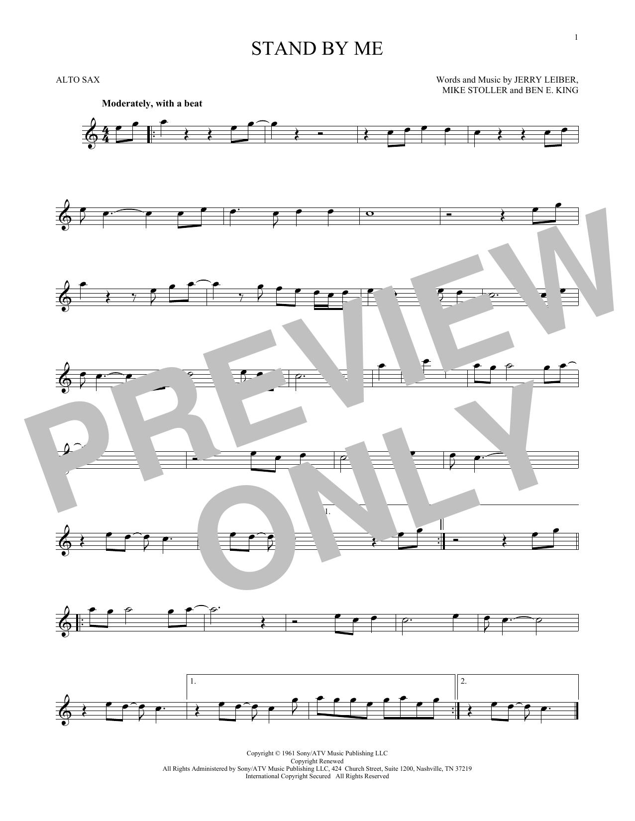 Partition saxophone Stand By Me de Ben E. King - Sax Alto