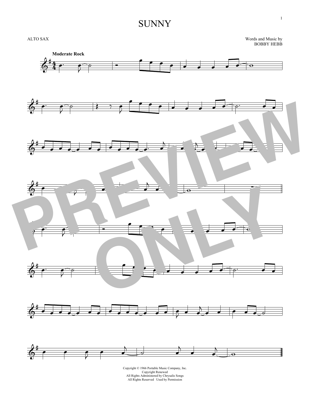 Partition saxophone Sunny de Bobby Hebb - Sax Alto