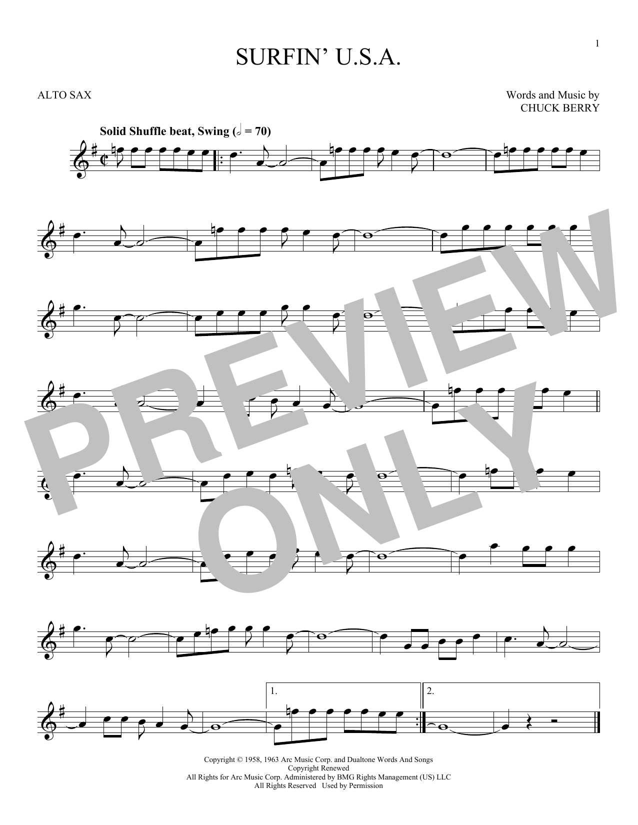 Partition saxophone Surfin' U.S.A. de The Beach Boys - Sax Alto