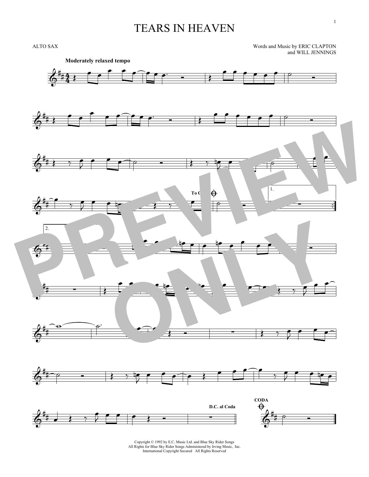 Partition saxophone Tears In Heaven de Eric Clapton - Sax Alto