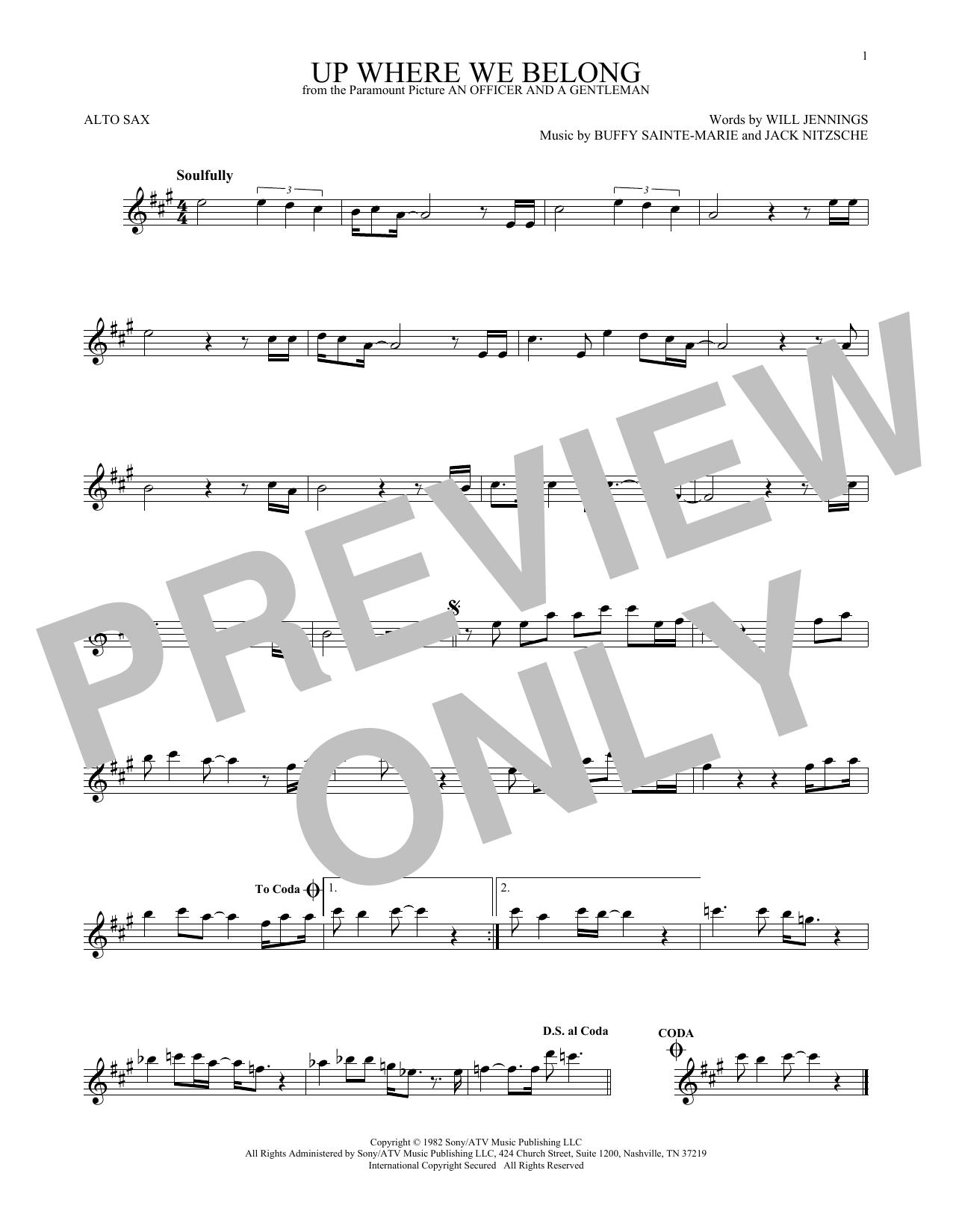 Partition saxophone Up Where We Belong (from An Officer And A Gentleman) de Joe Cocker and Jennifer Warnes - Sax Alto