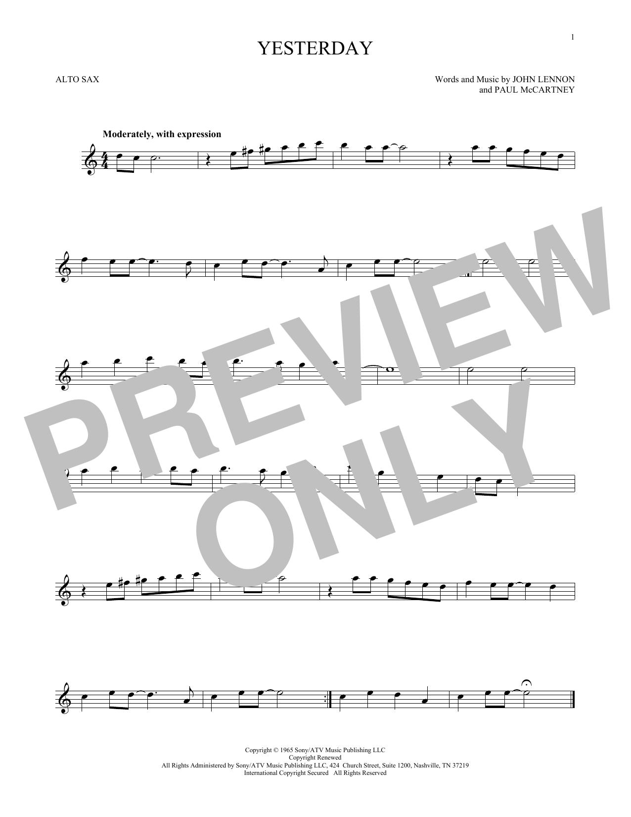 Partition saxophone Yesterday de The Beatles - Sax Alto