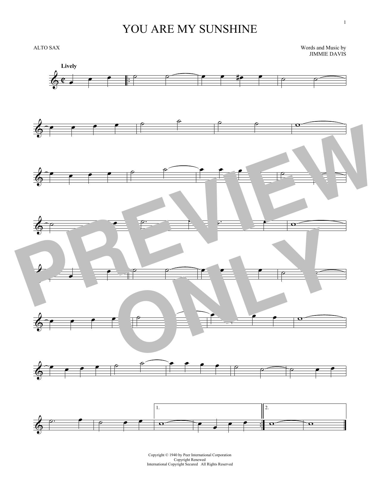 Partition saxophone You Are My Sunshine de Jimmie Davis - Sax Alto