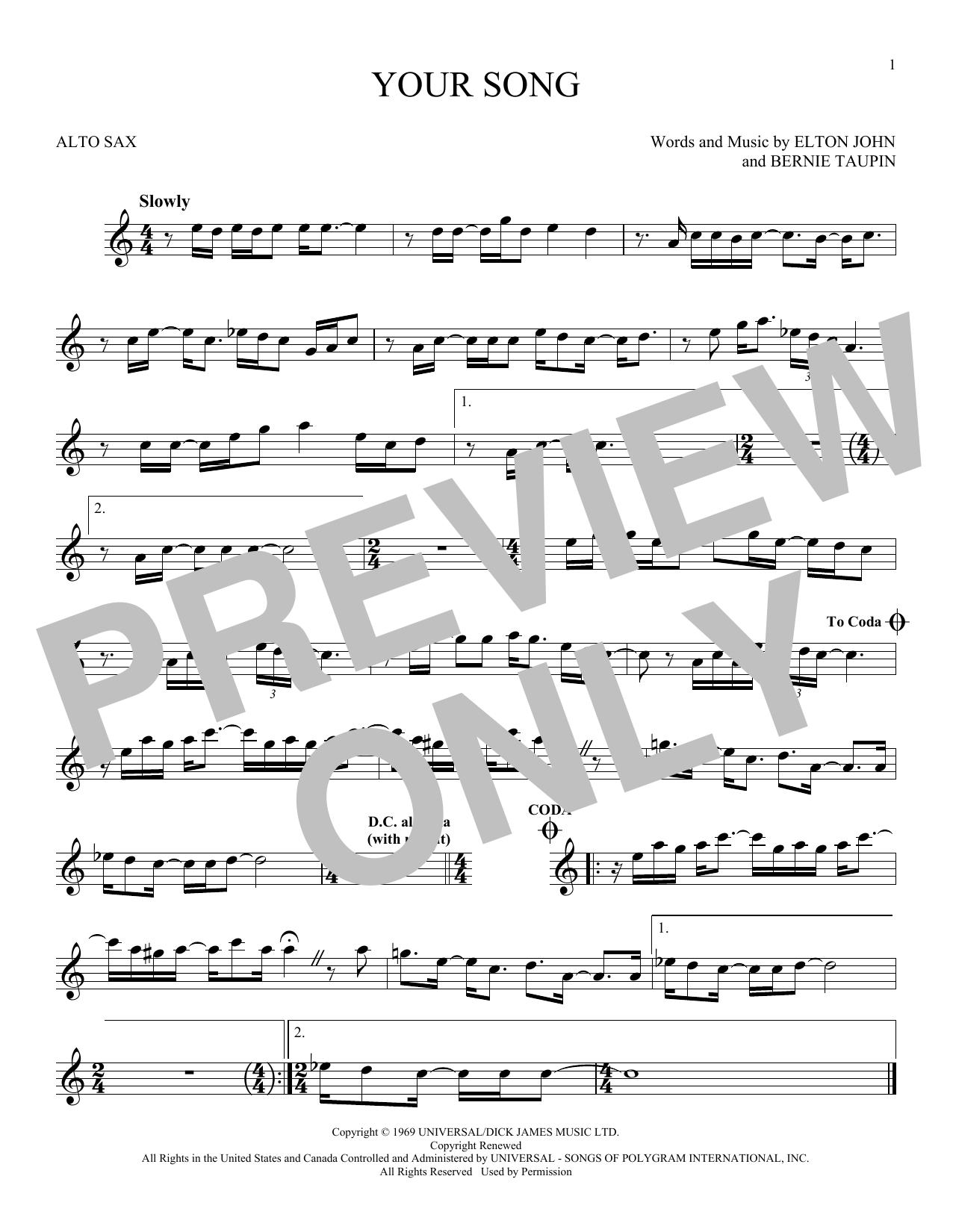 Partition saxophone Your Song de Elton John - Sax Alto