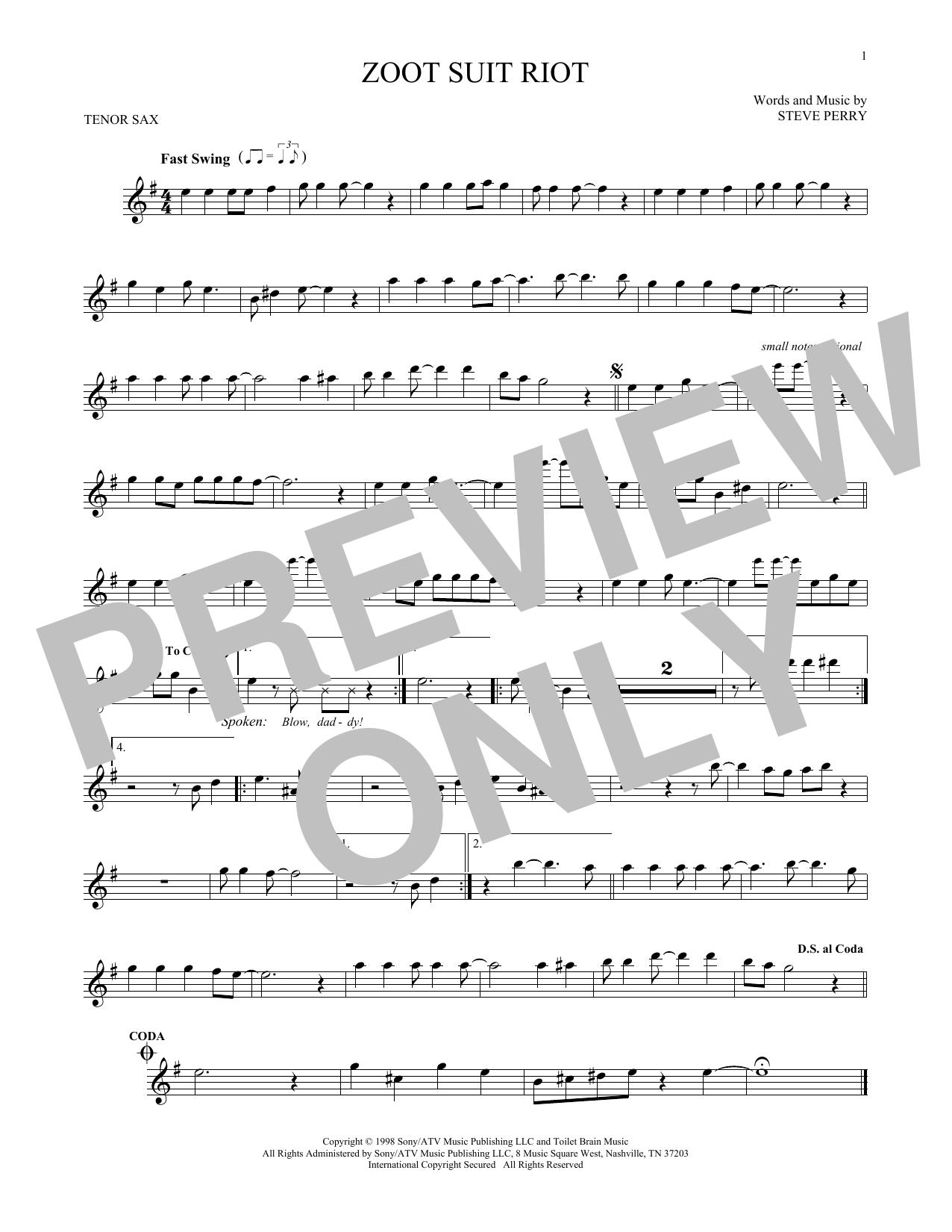 Partition saxophone Zoot Suit Riot de Cherry Poppin' Daddies - Sax Tenor