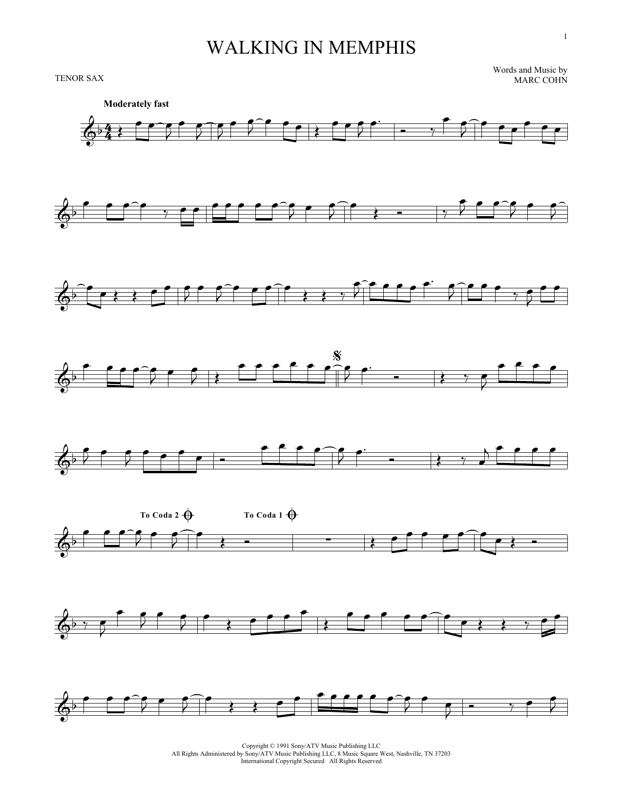 Partition saxophone Walking In Memphis de Marc Cohn - Sax Tenor