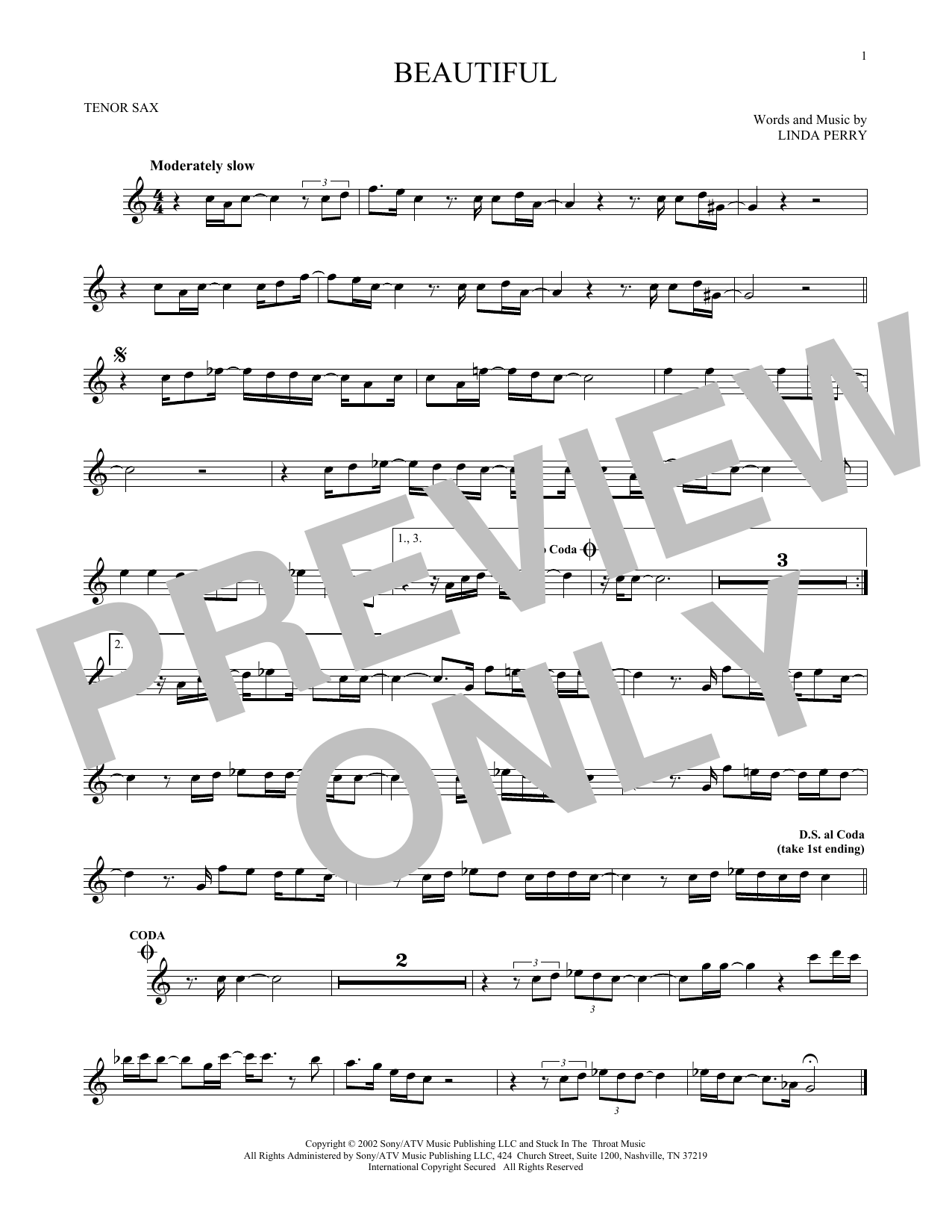 Partition saxophone Beautiful de Christina Aguilera - Sax Tenor