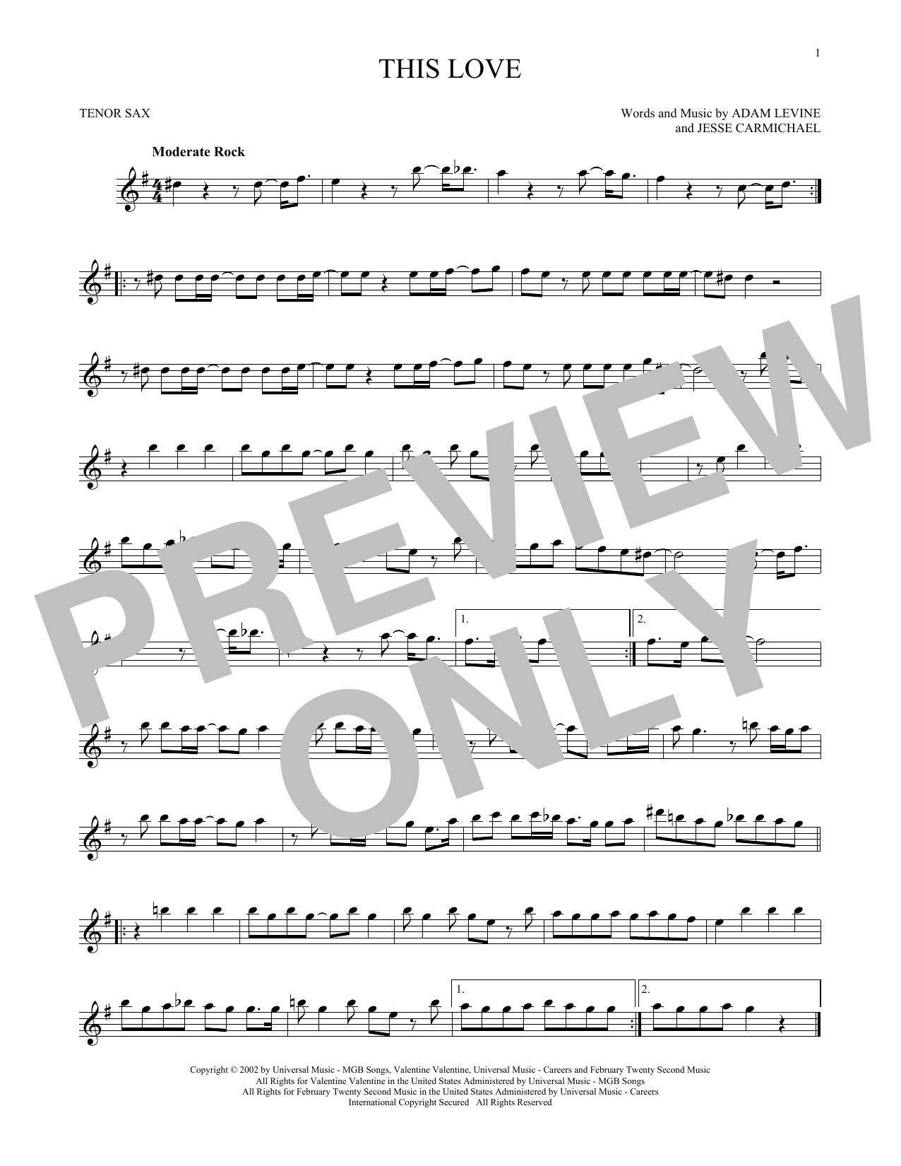 Partition saxophone This Love de Maroon 5 - Sax Tenor
