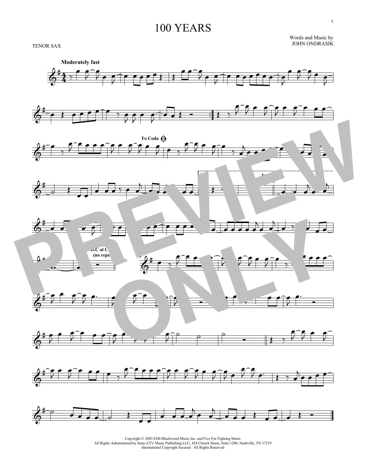 Partition saxophone 100 Years de Five For Fighting - Sax Tenor