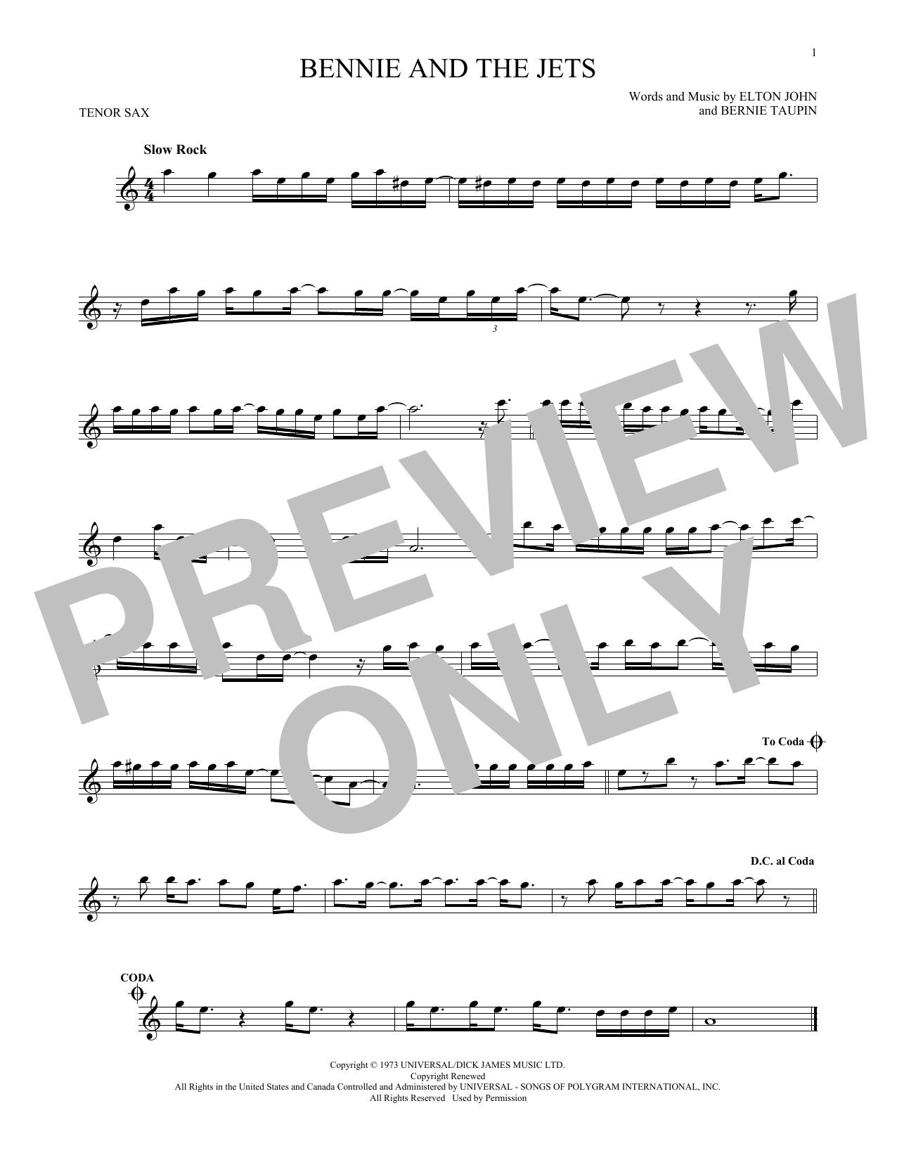 Partition saxophone Bennie And The Jets de Elton John - Sax Tenor