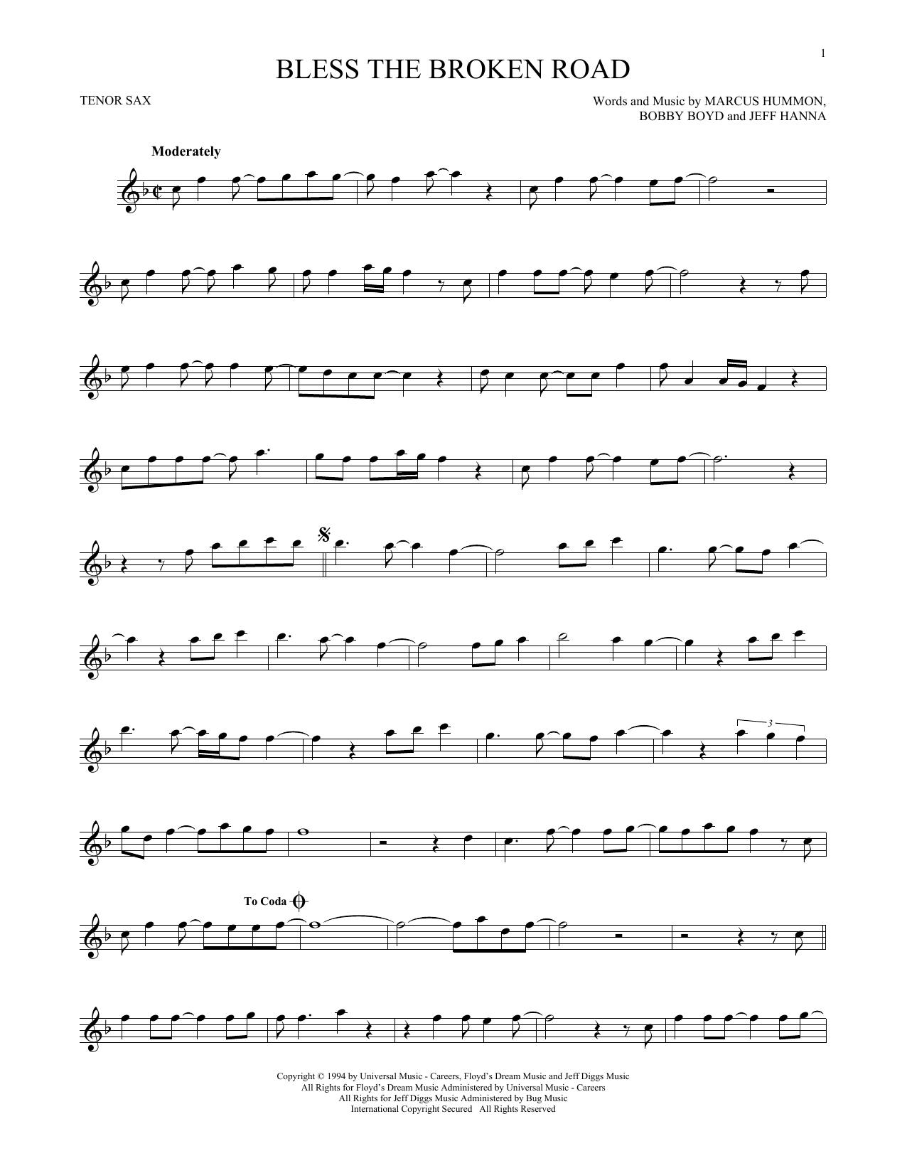Partition saxophone Bless The Broken Road de Rascal Flatts - Sax Tenor