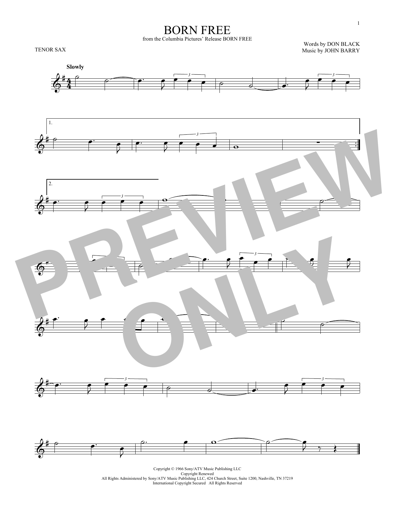 Partition saxophone Born Free de John Barry - Sax Tenor