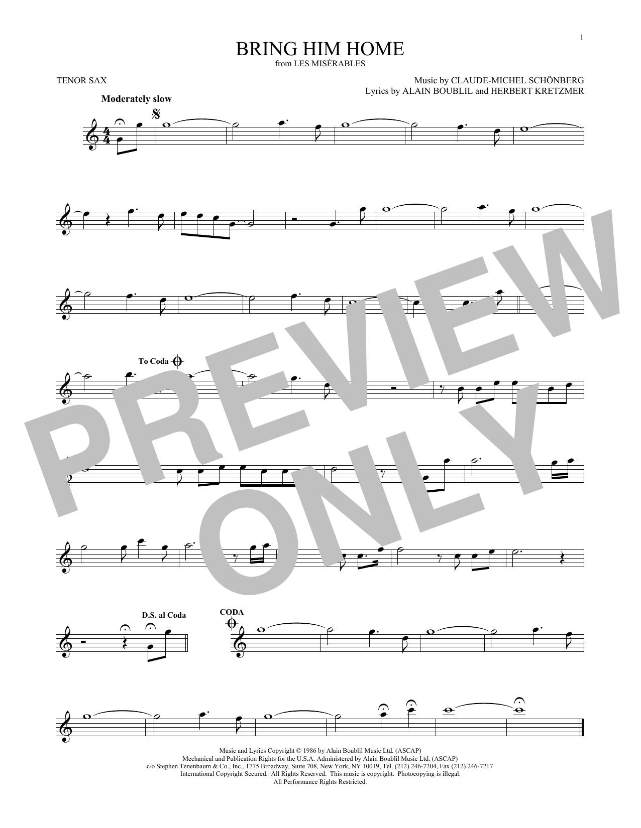 Partition saxophone Bring Him Home de Claude-Michel Schonberg - Sax Tenor