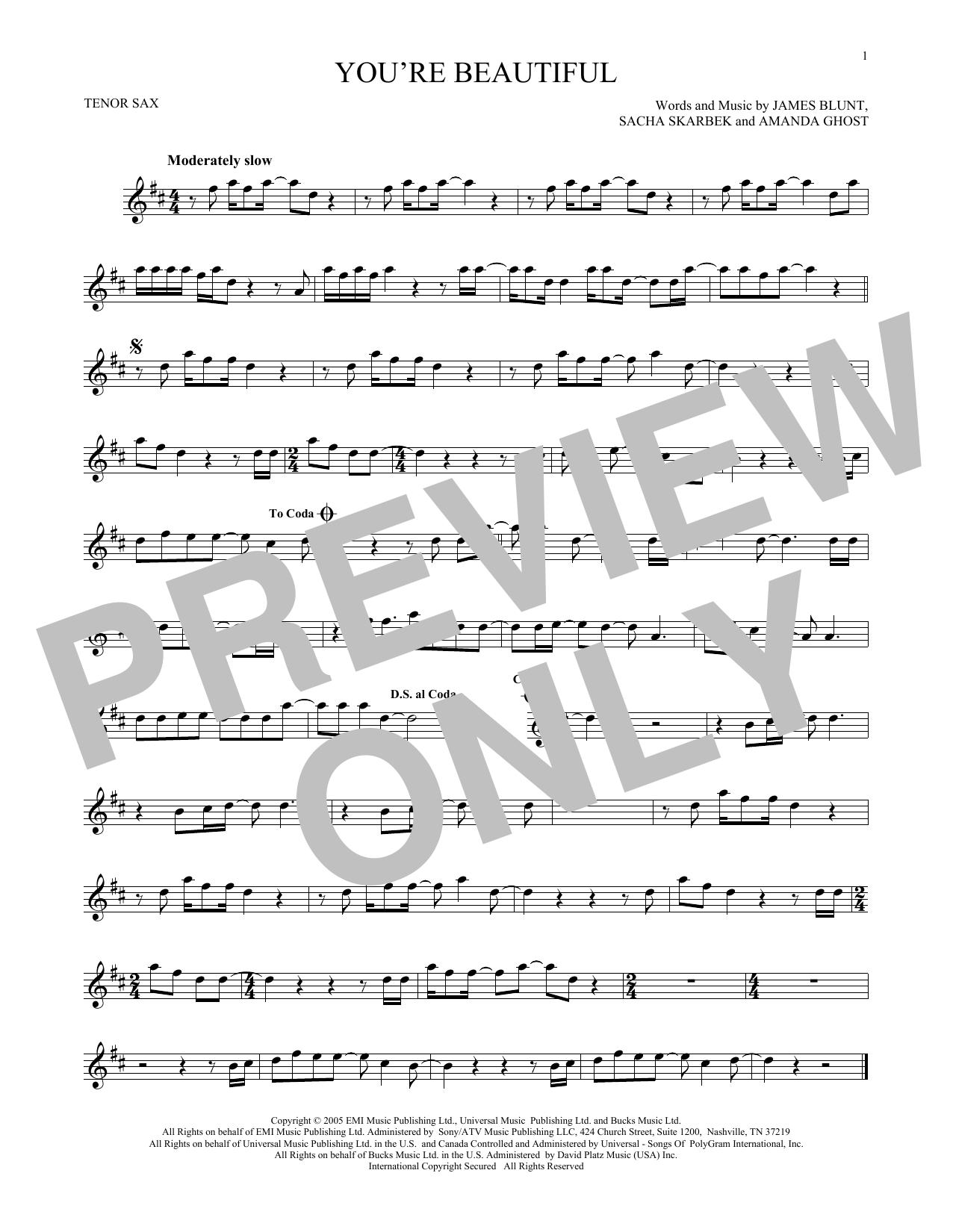 Partition saxophone You're Beautiful de James Blunt - Sax Tenor