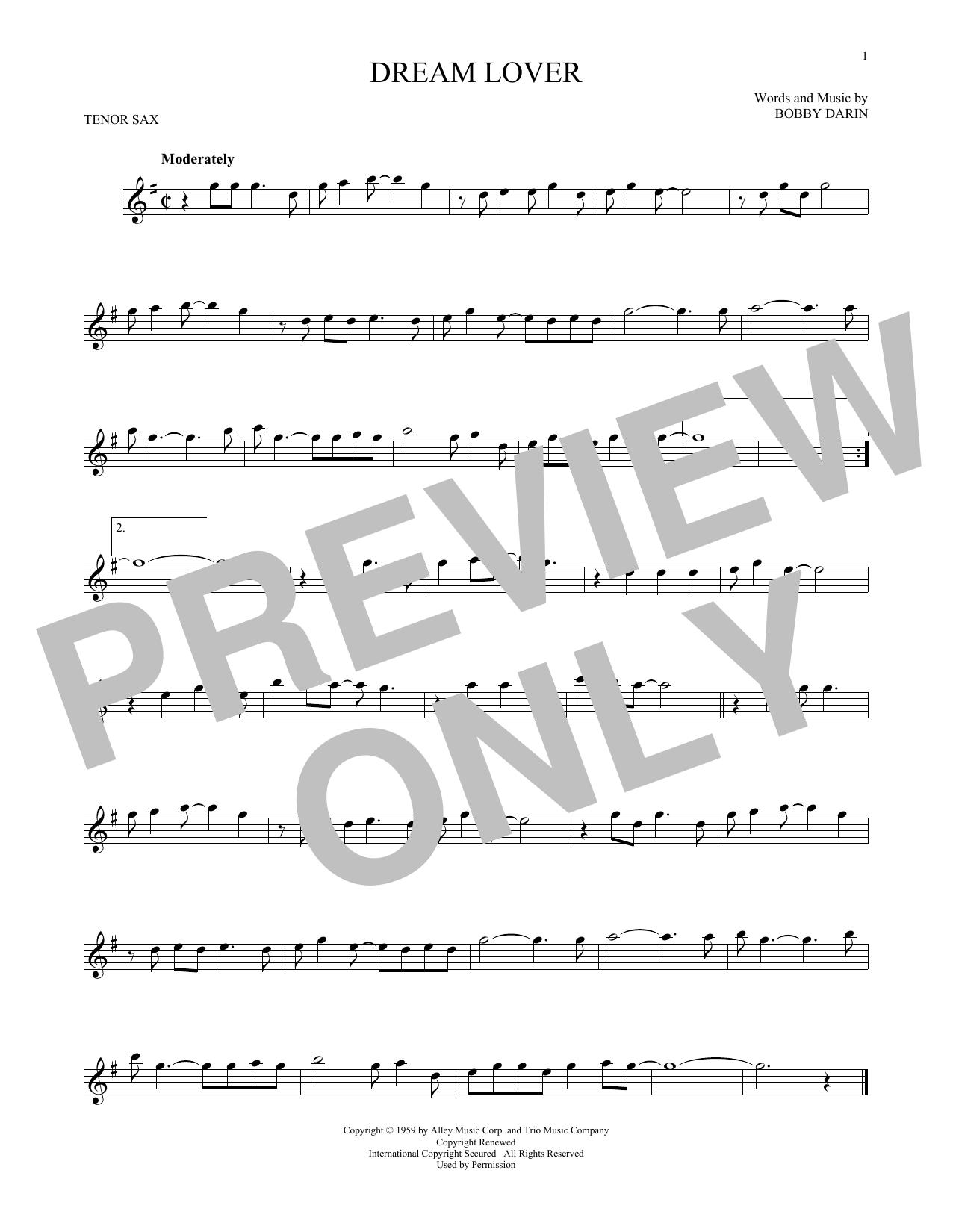Partition saxophone Dream Lover de Bobby Darin - Sax Tenor