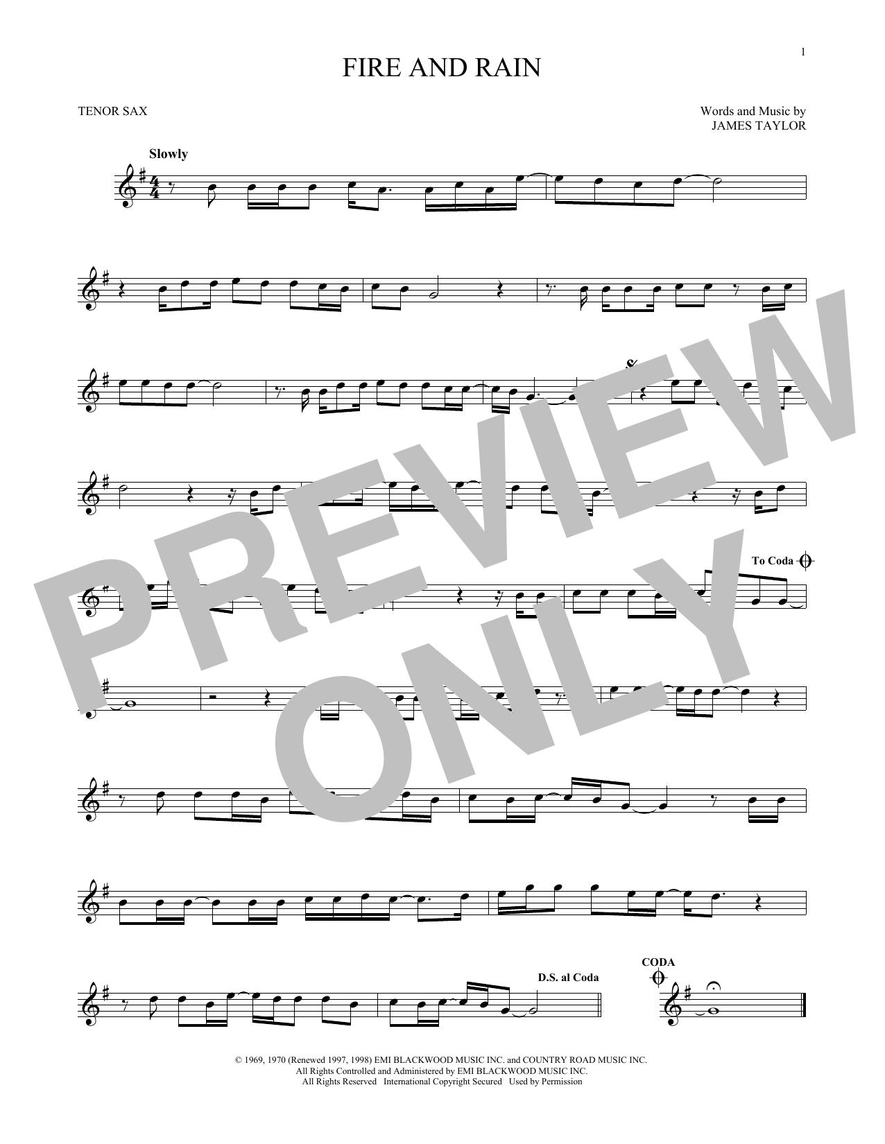 Partition saxophone Fire And Rain de James Taylor - Sax Tenor