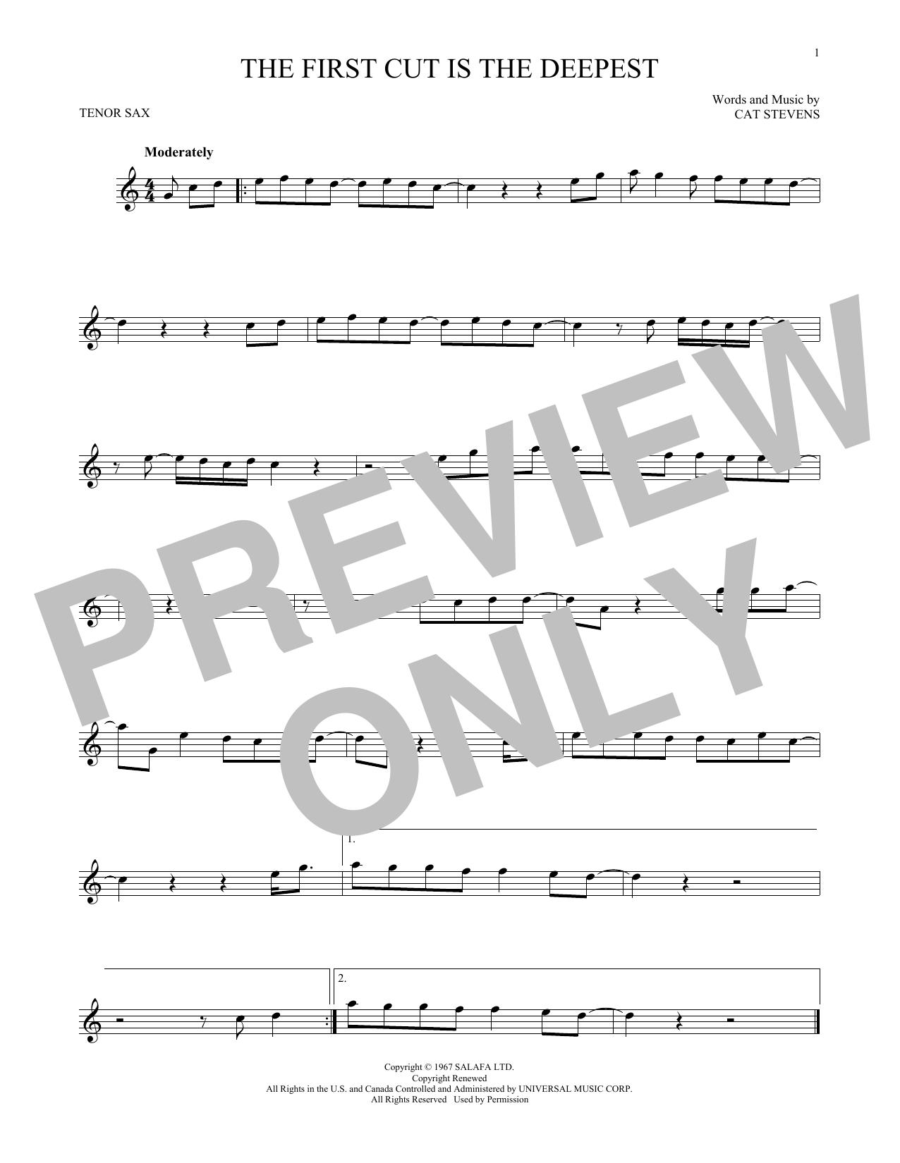 Partition saxophone The First Cut Is The Deepest de Cat Stevens - Sax Tenor