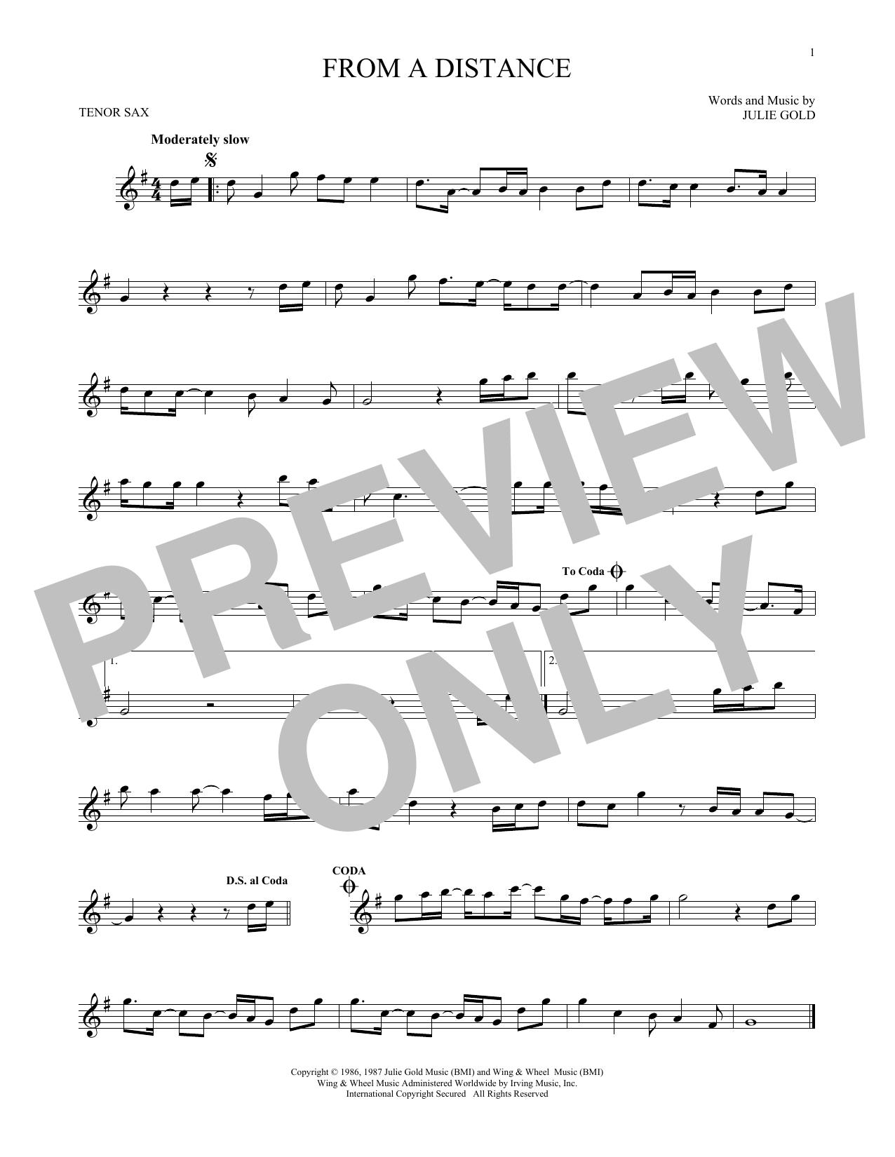 Partition saxophone From A Distance de Bette Midler - Sax Tenor