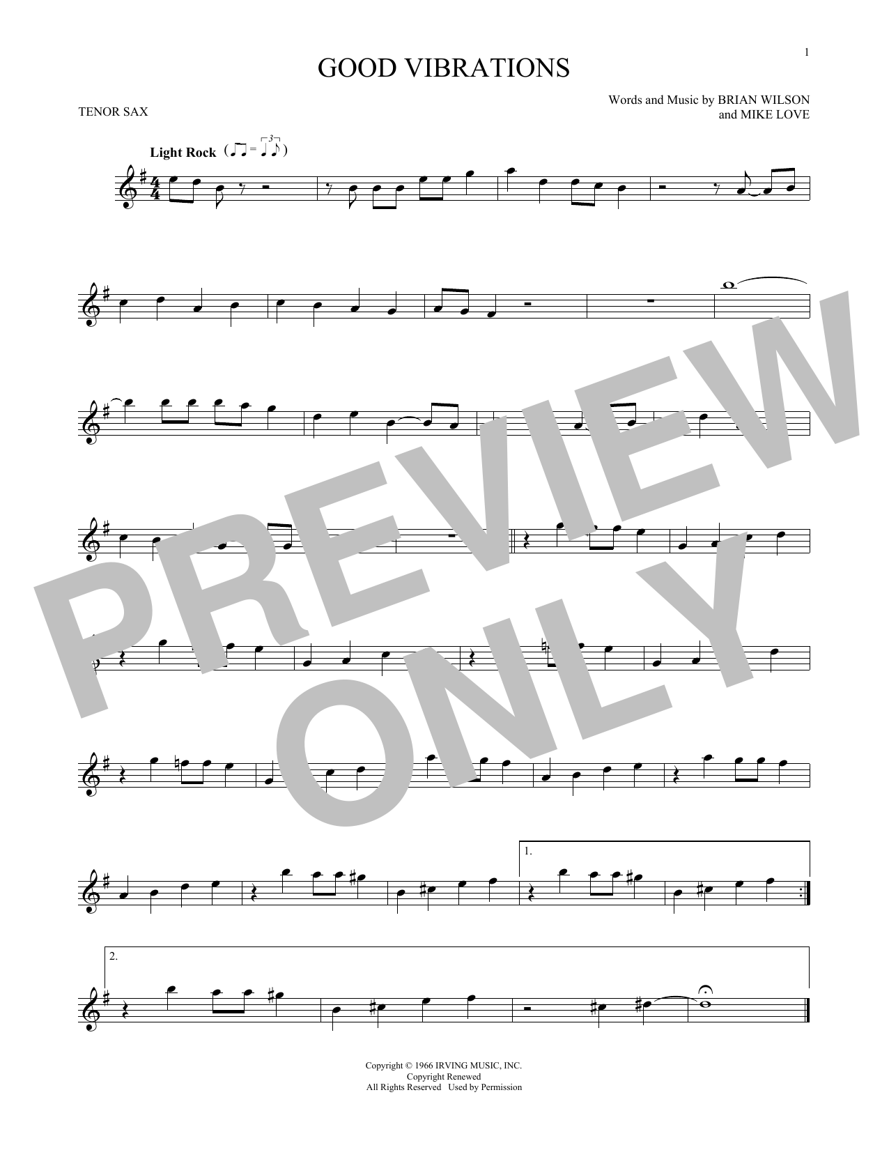 Partition saxophone Good Vibrations de The Beach Boys - Sax Tenor
