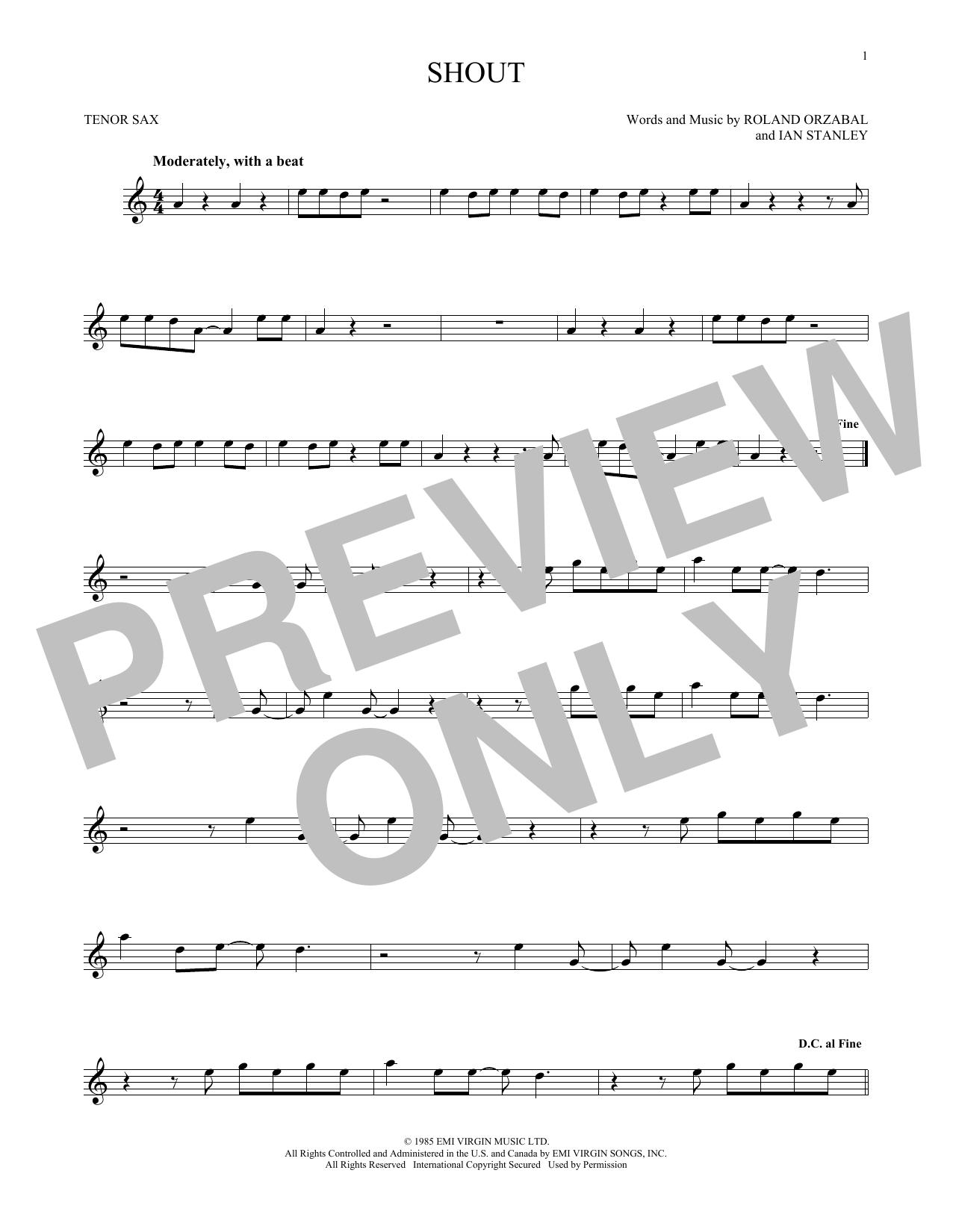 Partition saxophone Shout de Tears for Fears - Sax Tenor