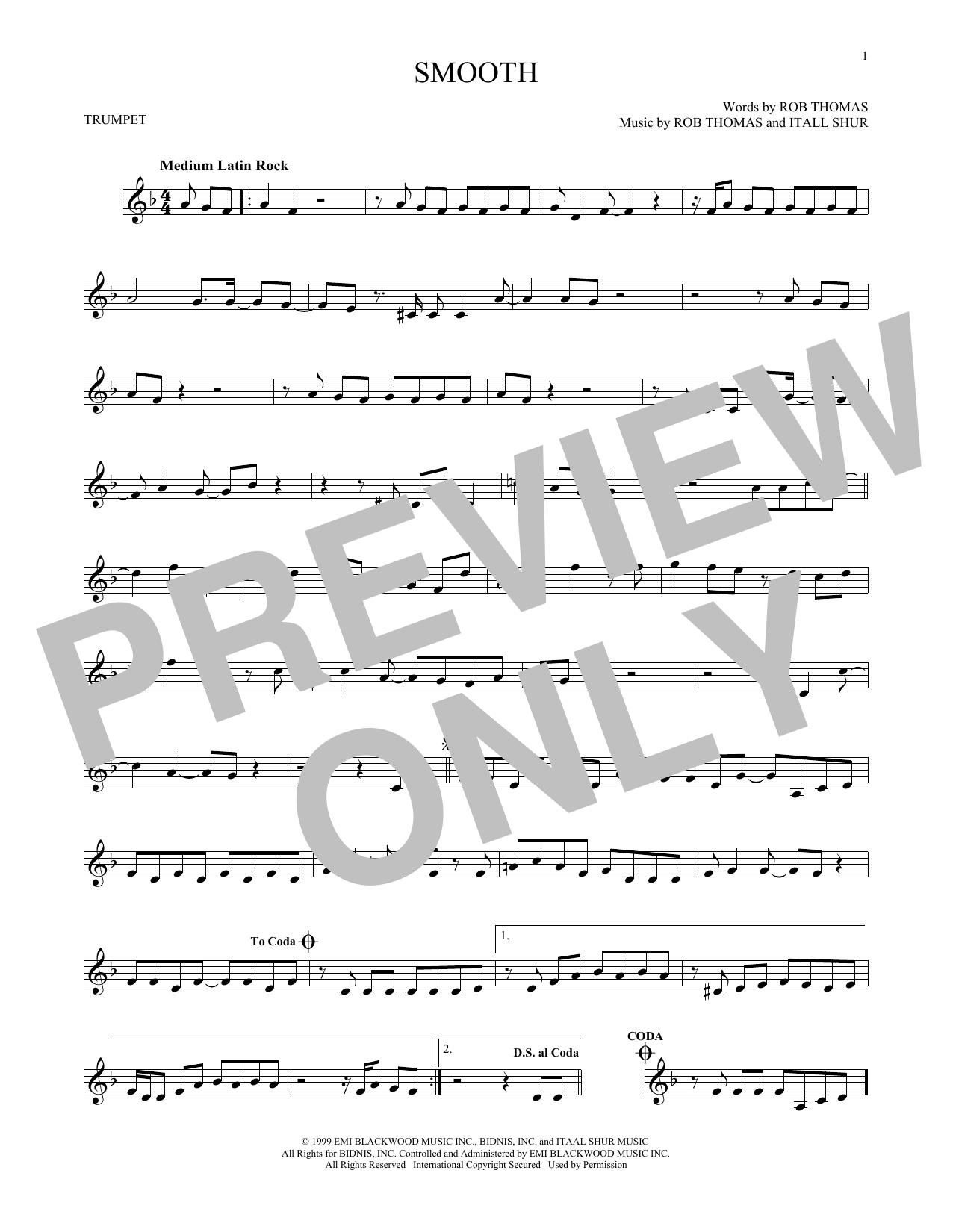 Partition autre Smooth de Santana featuring Rob Thomas - Trompette