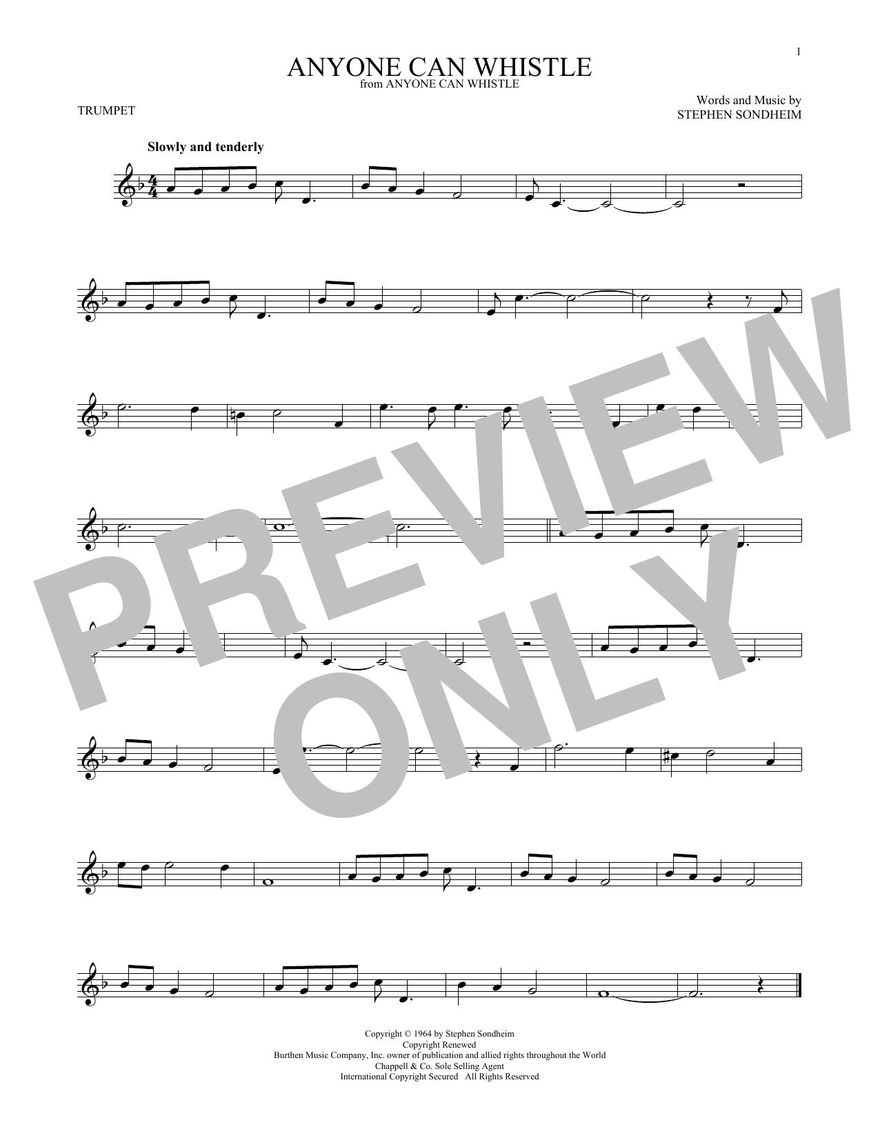 Partition autre Anyone Can Whistle de Stephen Sondheim - Trompette