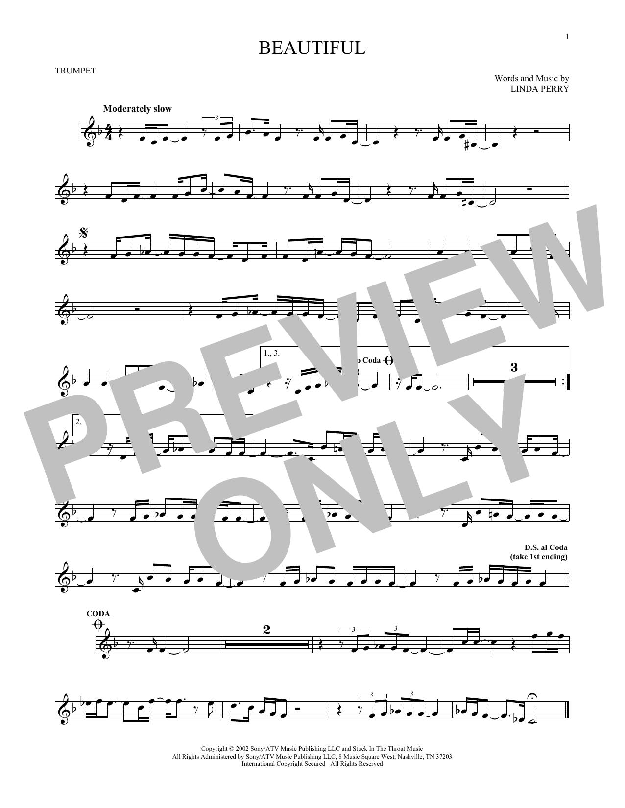 Partition autre Beautiful de Christina Aguilera - Trompette