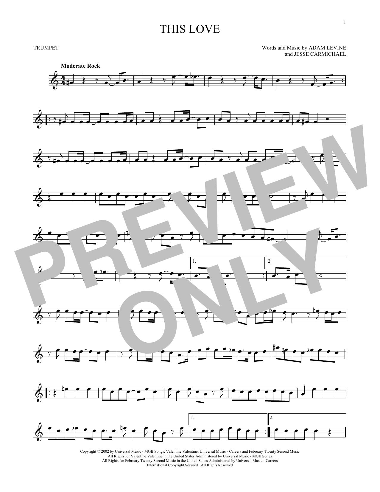 Partition autre This Love de Maroon 5 - Trompette