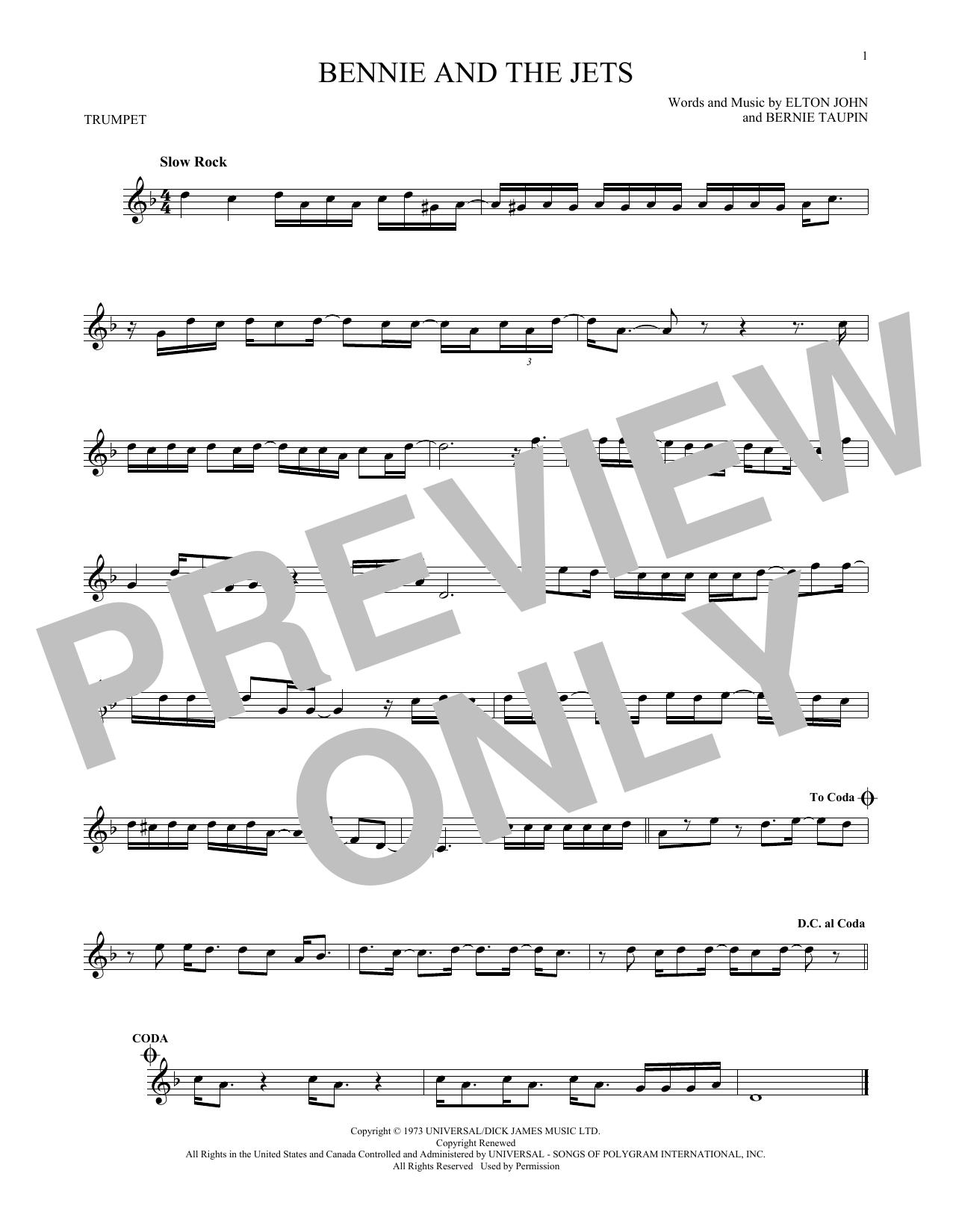 Partition autre Bennie And The Jets de Elton John - Trompette