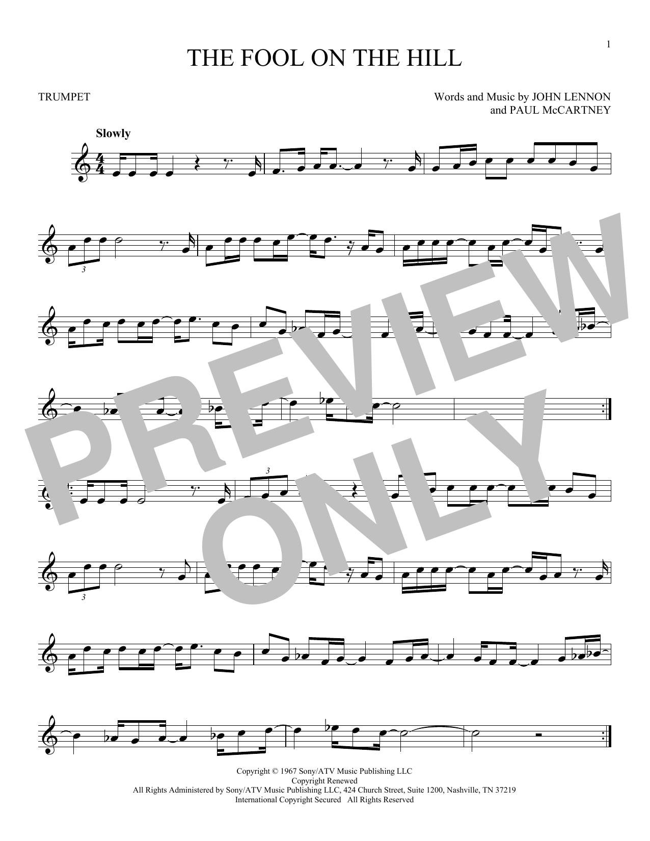 Partition autre The Fool On The Hill de The Beatles - Trompette